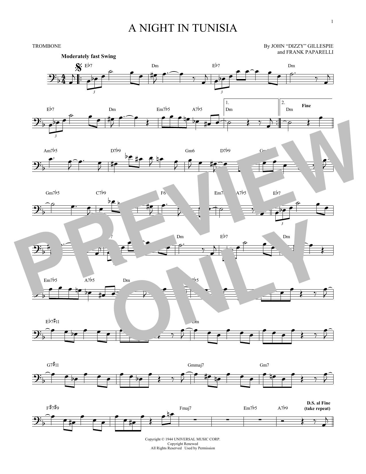 Partition autre A Night In Tunisia de Dizzy Gillespie - Trombone