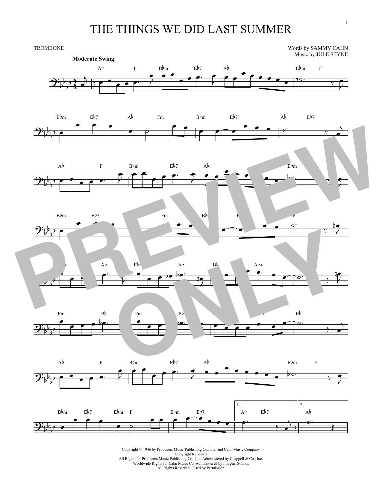 Partition autre The Things We Did Last Summer de Jule Styne - Trombone