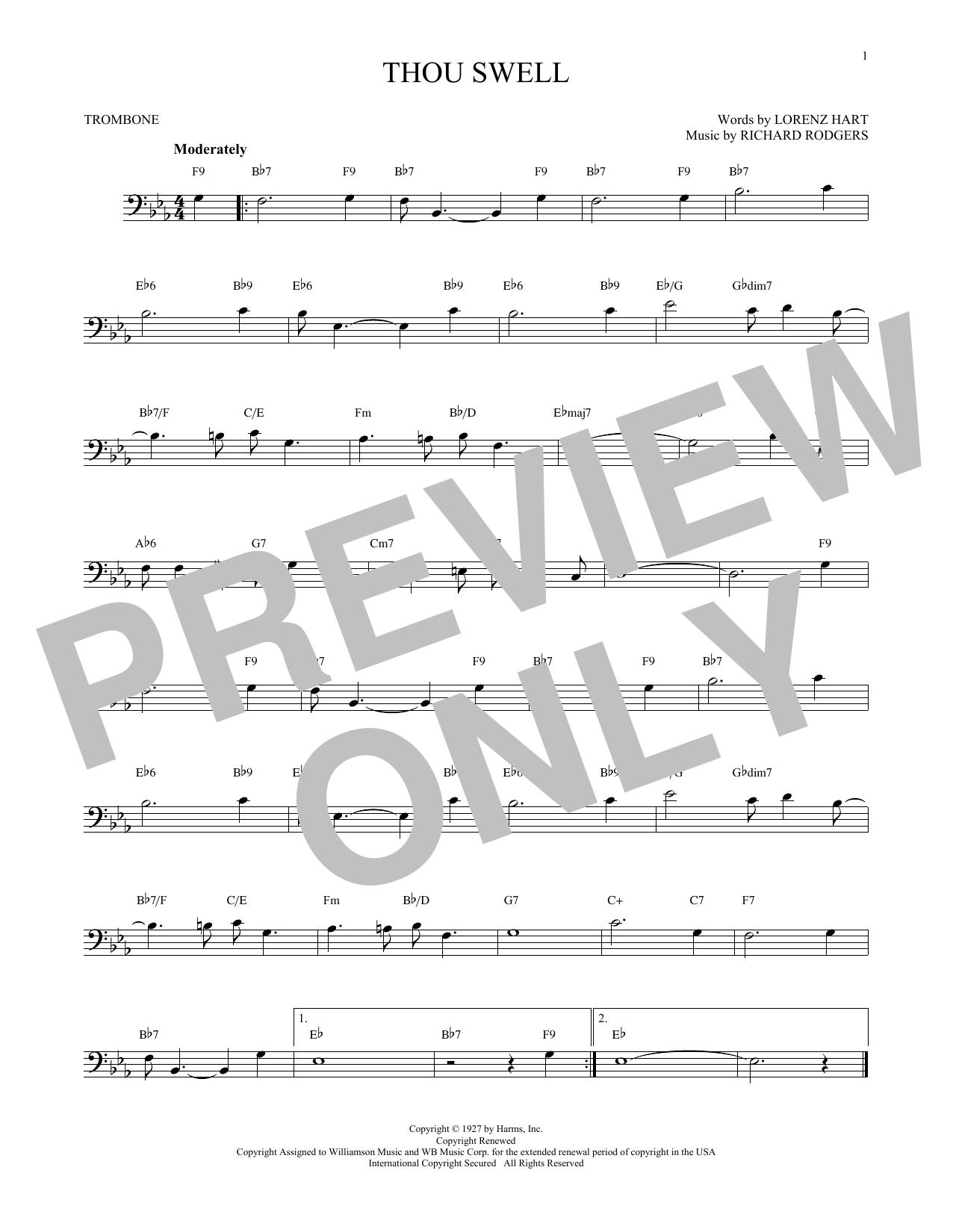 Partition autre Thou Swell de Rodgers & Hart - Trombone
