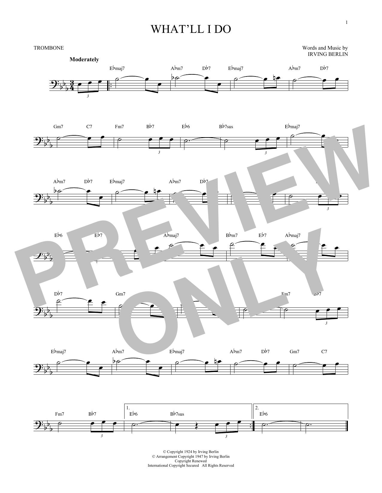 Partition autre What'll I Do? de Irving Berlin - Trombone