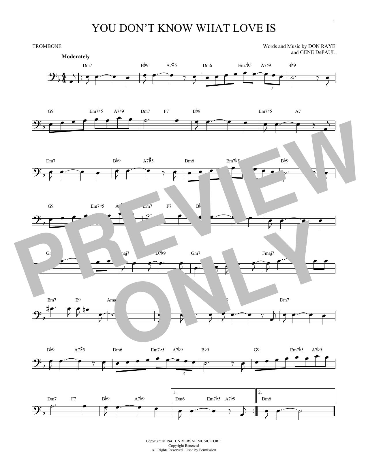 Partition autre You Don't Know What Love Is de Carol Bruce - Trombone