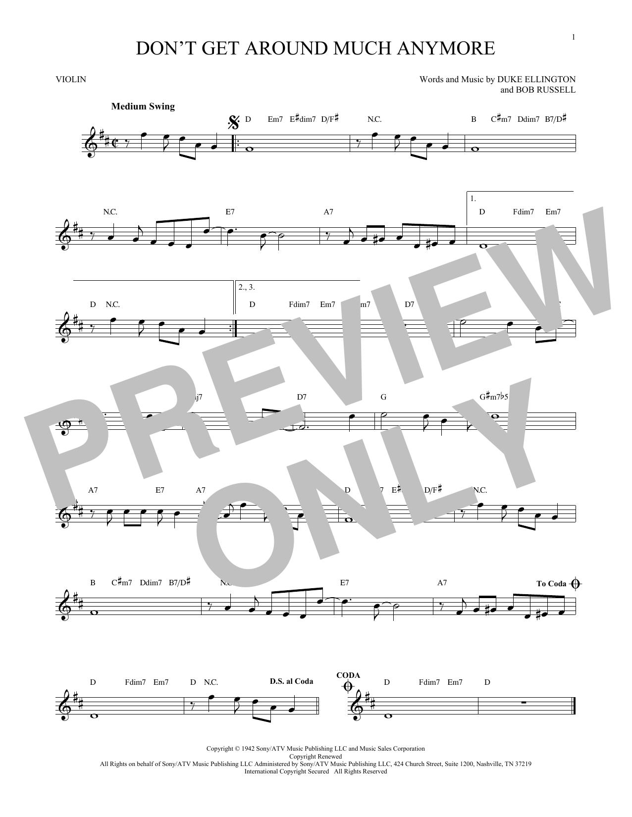Partition autre Don't Get Around Much Anymore de Duke Ellington - Violon