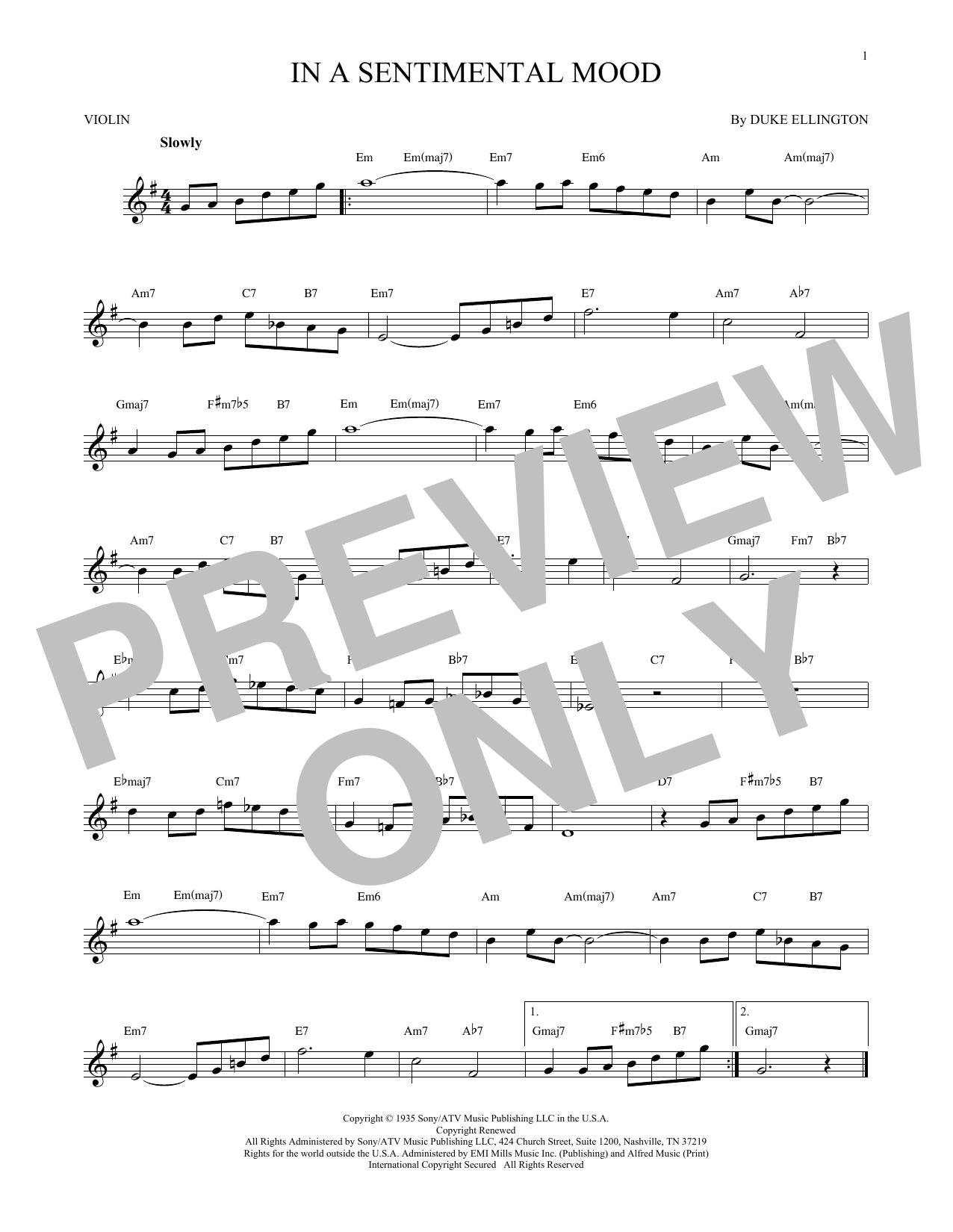 Partition autre In A Sentimental Mood de Duke Ellington - Violon