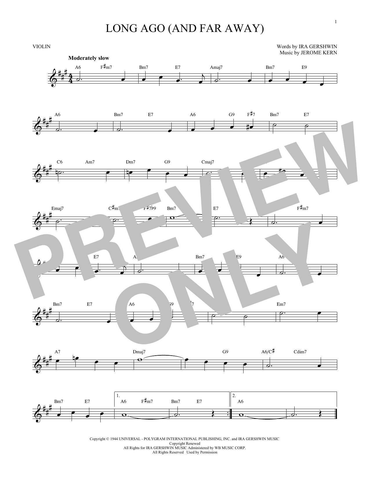 Partition autre Long Ago (And Far Away) de Ira Gershwin - Violon