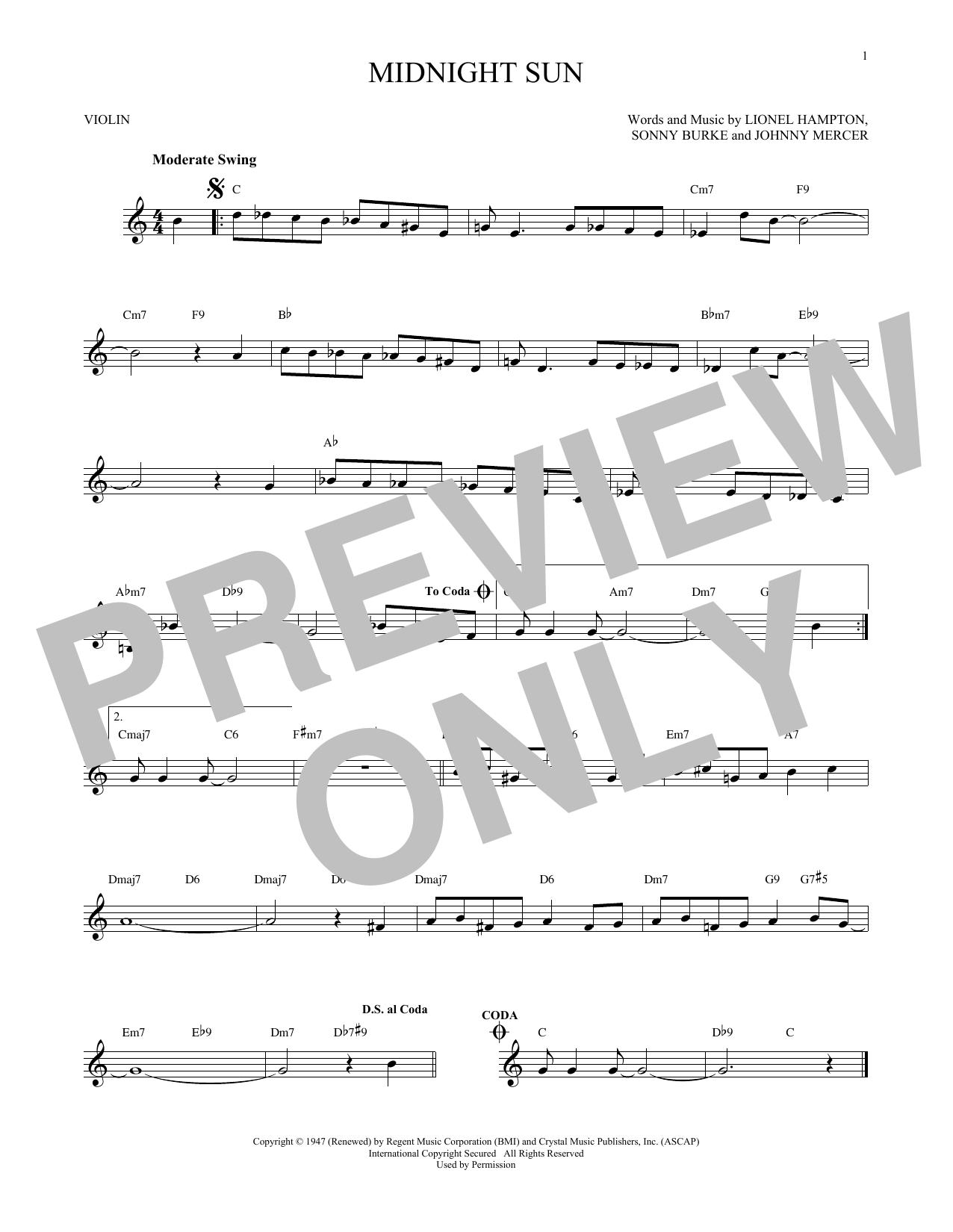 Partition autre Midnight Sun de Johnny Mercer - Violon