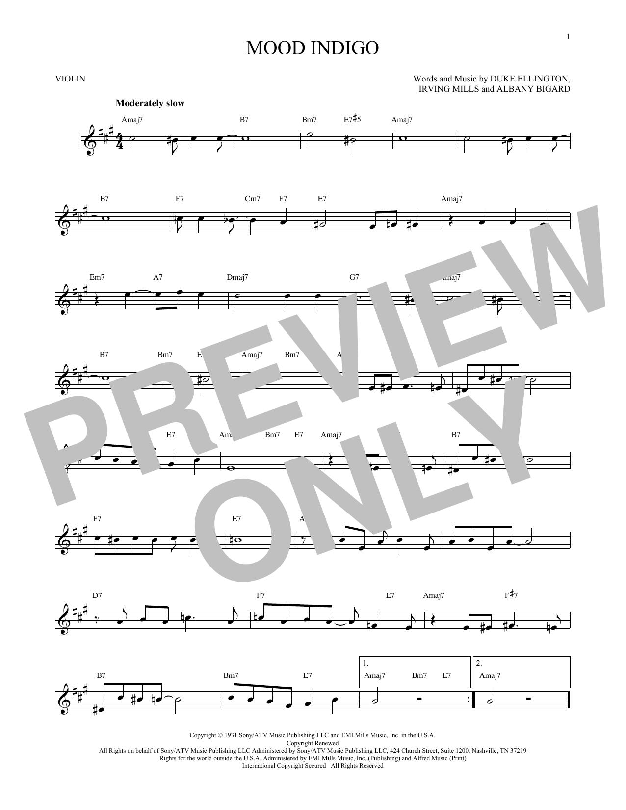 Partition autre Mood Indigo de Duke Ellington - Violon