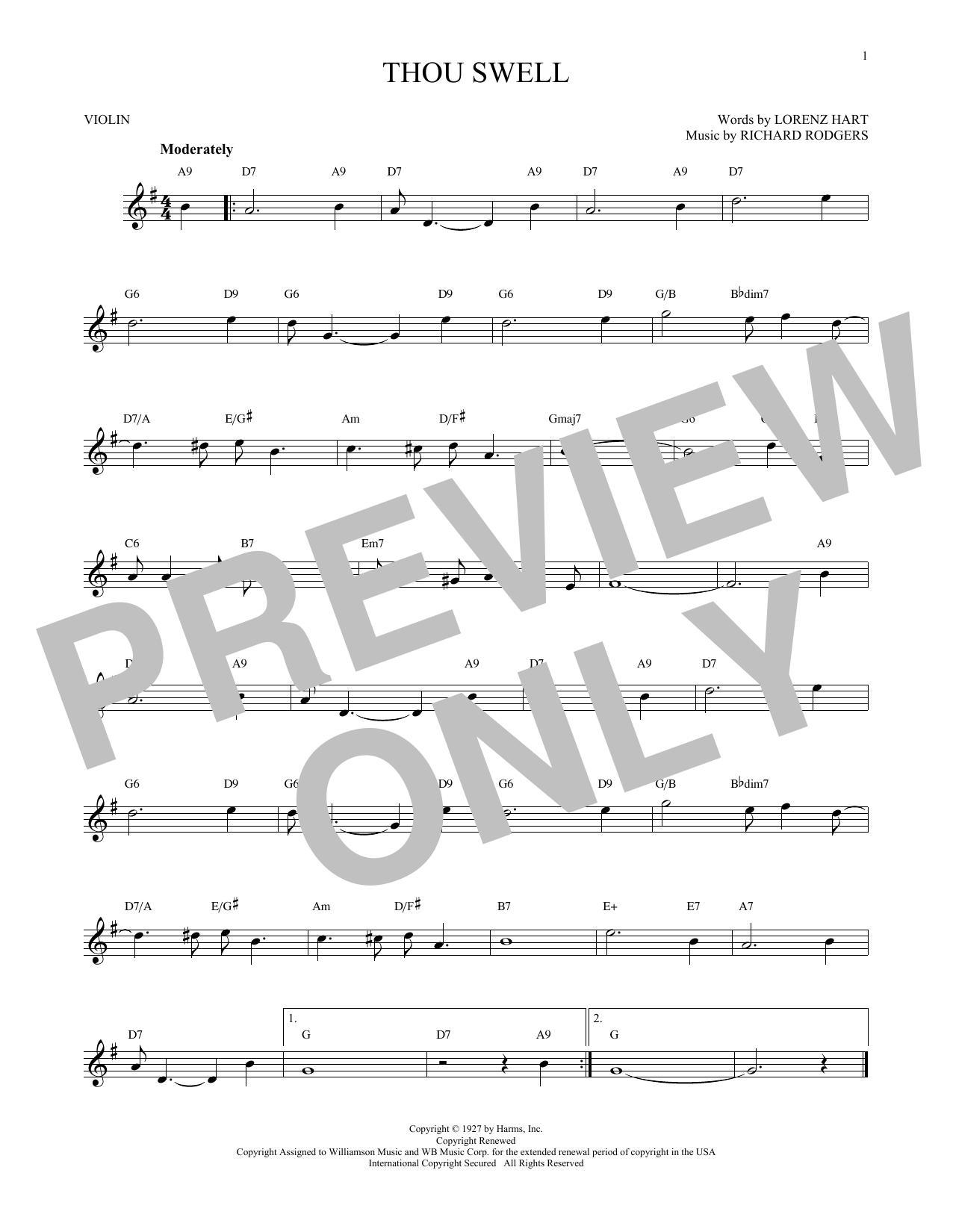 Partition autre Thou Swell de Rodgers & Hart - Violon