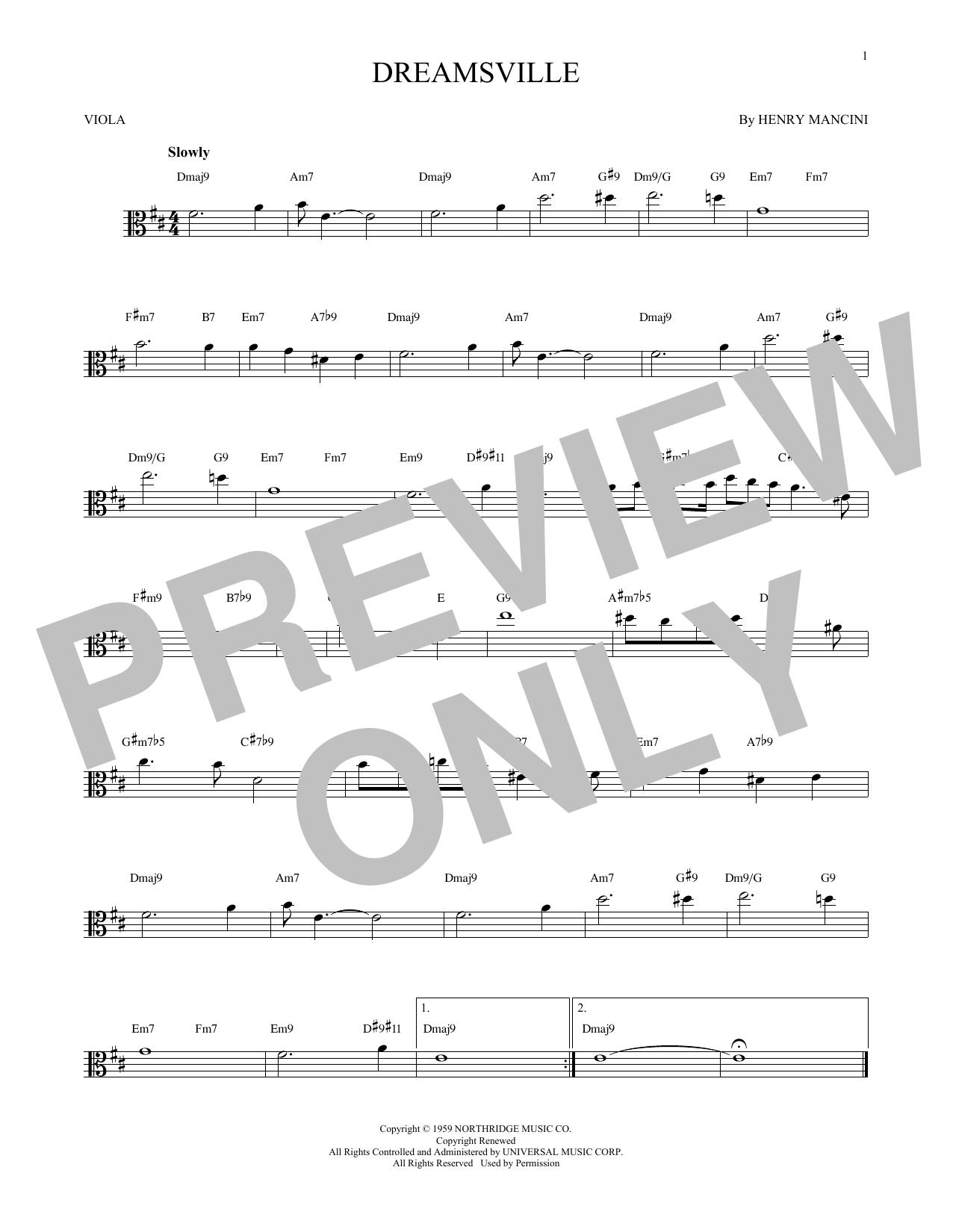 Partition autre Dreamsville de Henry Mancini - Alto