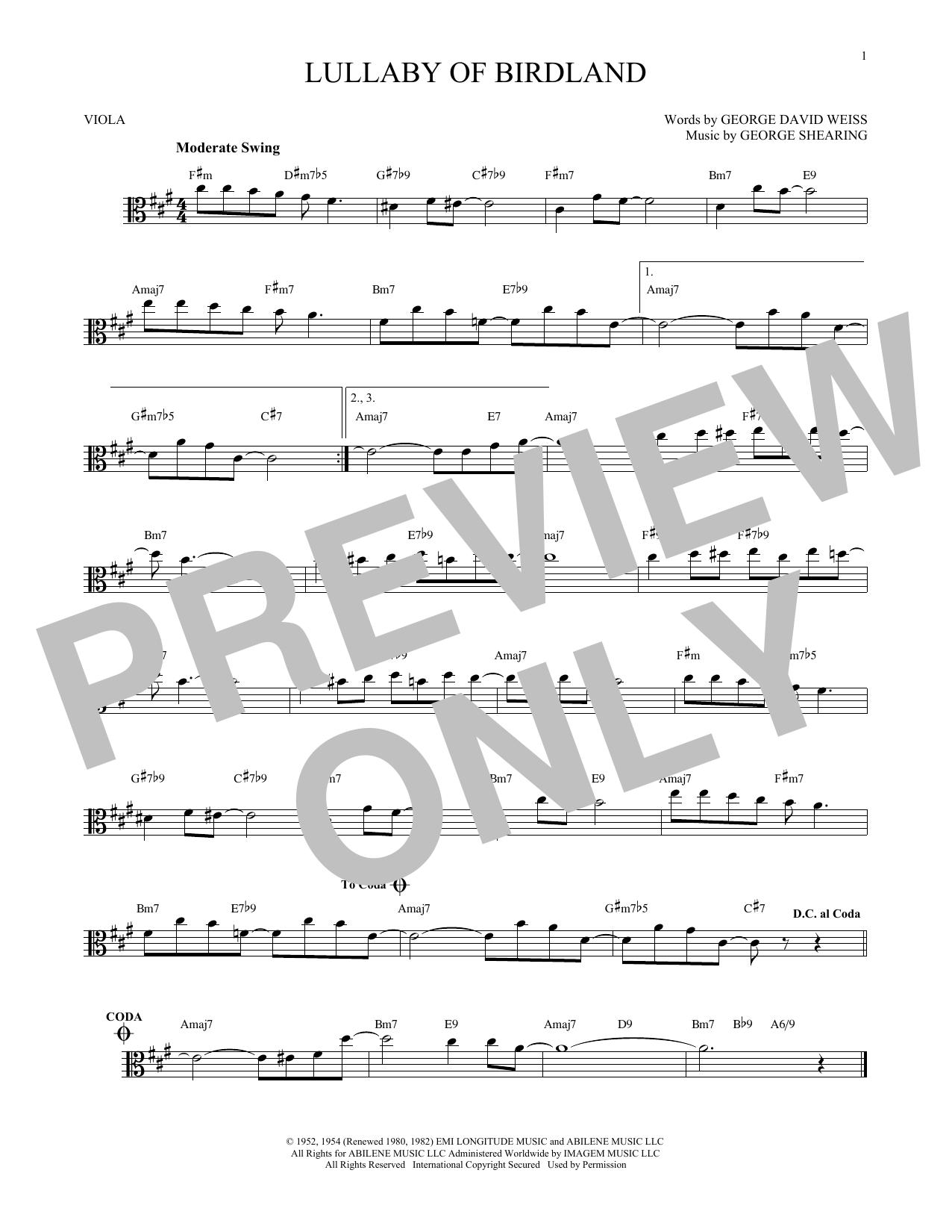 Partition autre Lullaby Of Birdland de George Shearing - Alto