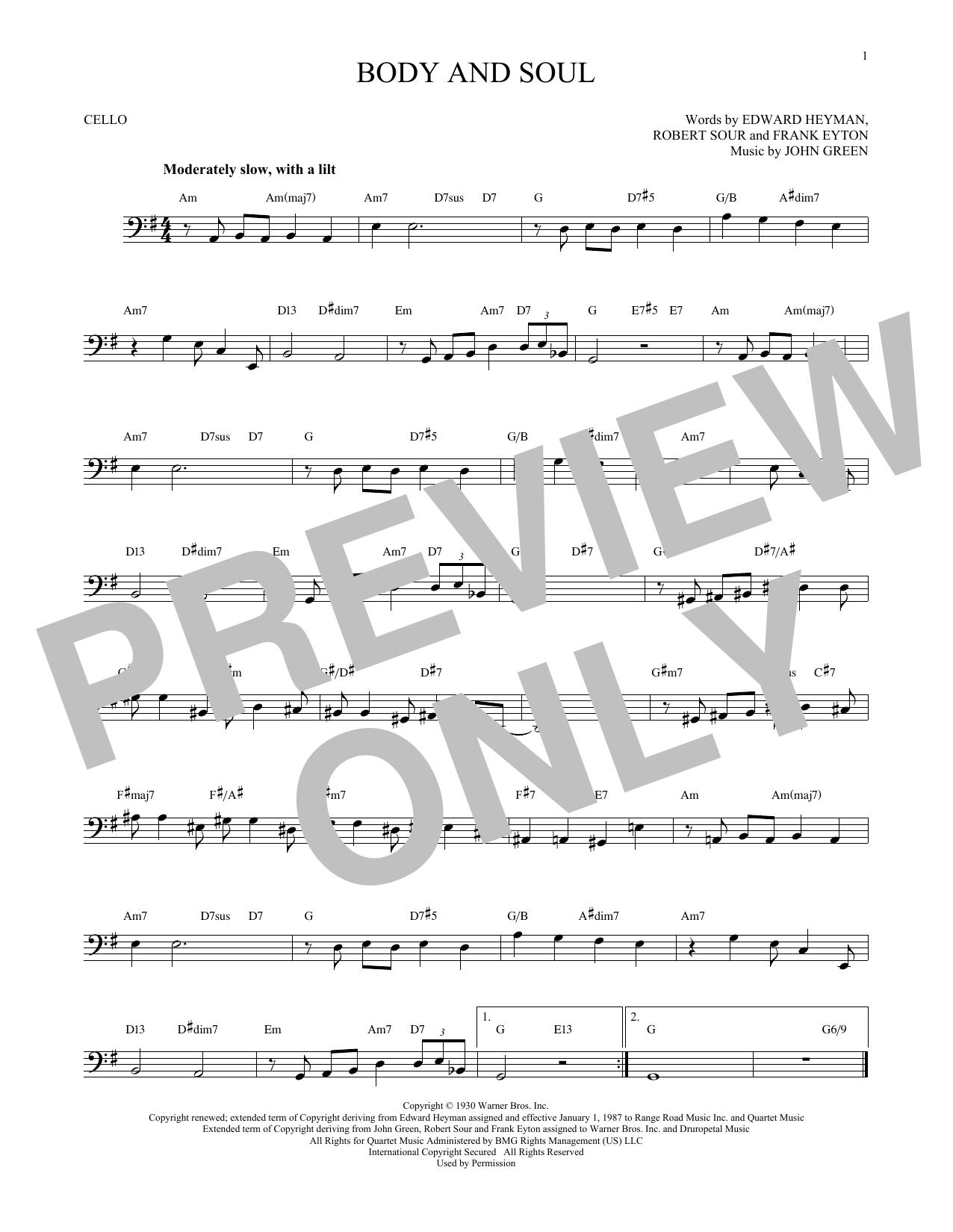 Partition autre Body And Soul de John Green - Violoncelle