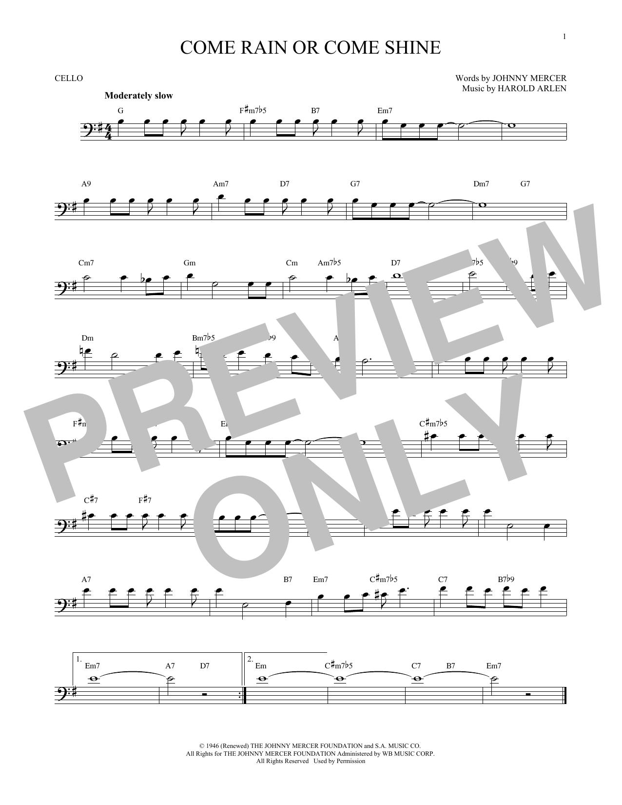 Partition autre Come Rain Or Come Shine de Harold Arlen - Violoncelle