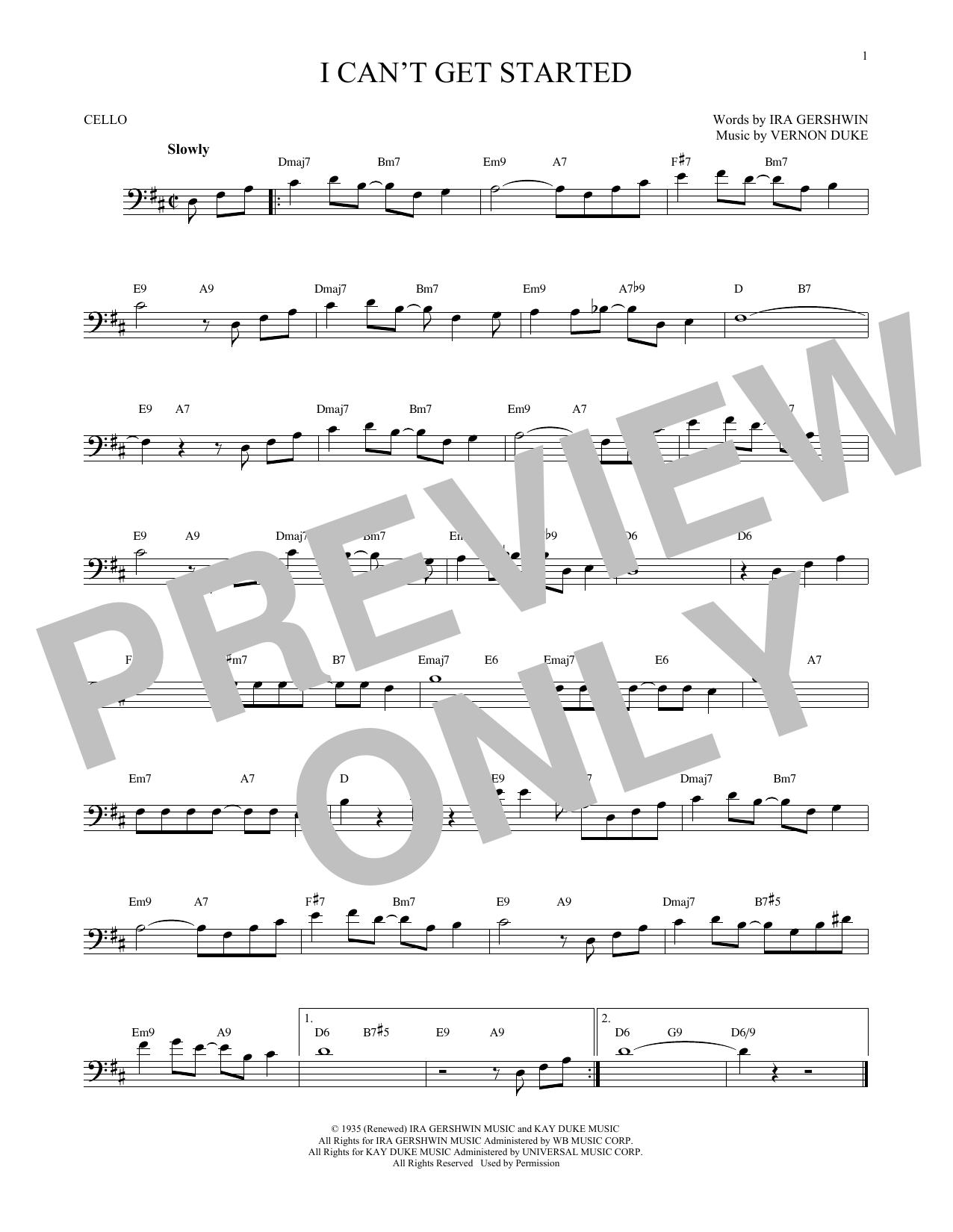 Partition autre I Can't Get Started de Ira Gershwin - Violoncelle