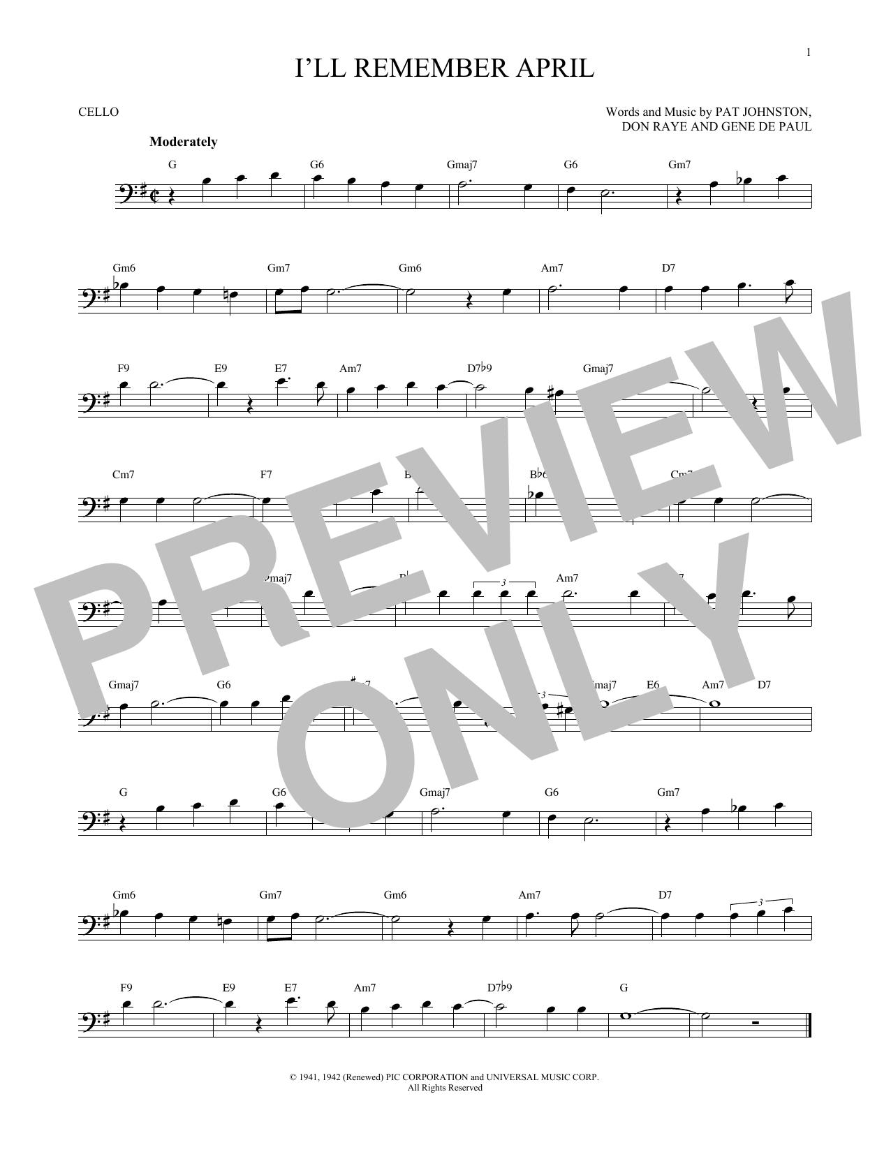 Partition autre I'll Remember April de Woody Herman & His Orchestra - Violoncelle