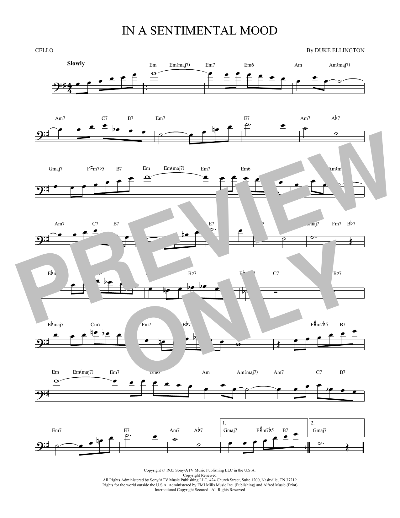 Partition autre In A Sentimental Mood de Duke Ellington - Violoncelle