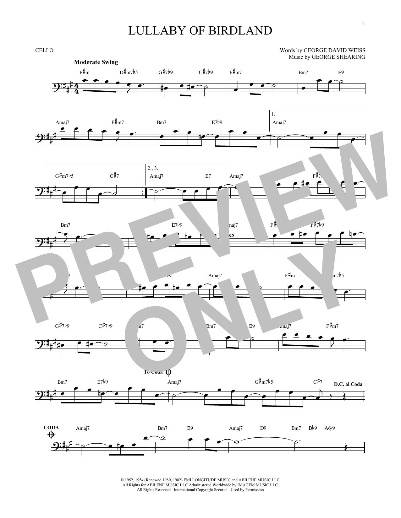 Partition autre Lullaby Of Birdland de George Shearing - Violoncelle