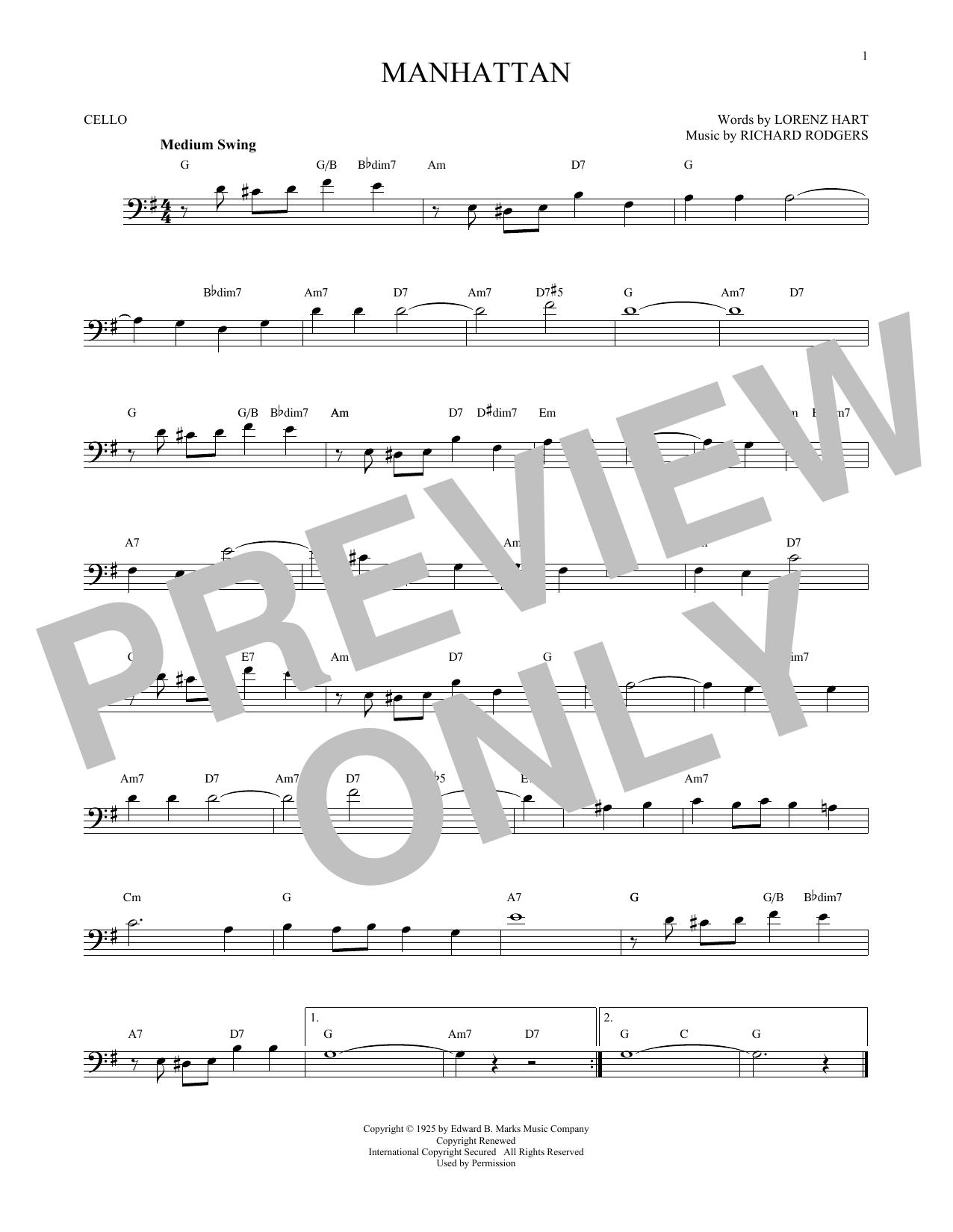 Partition autre Manhattan de Rodgers & Hart - Violoncelle