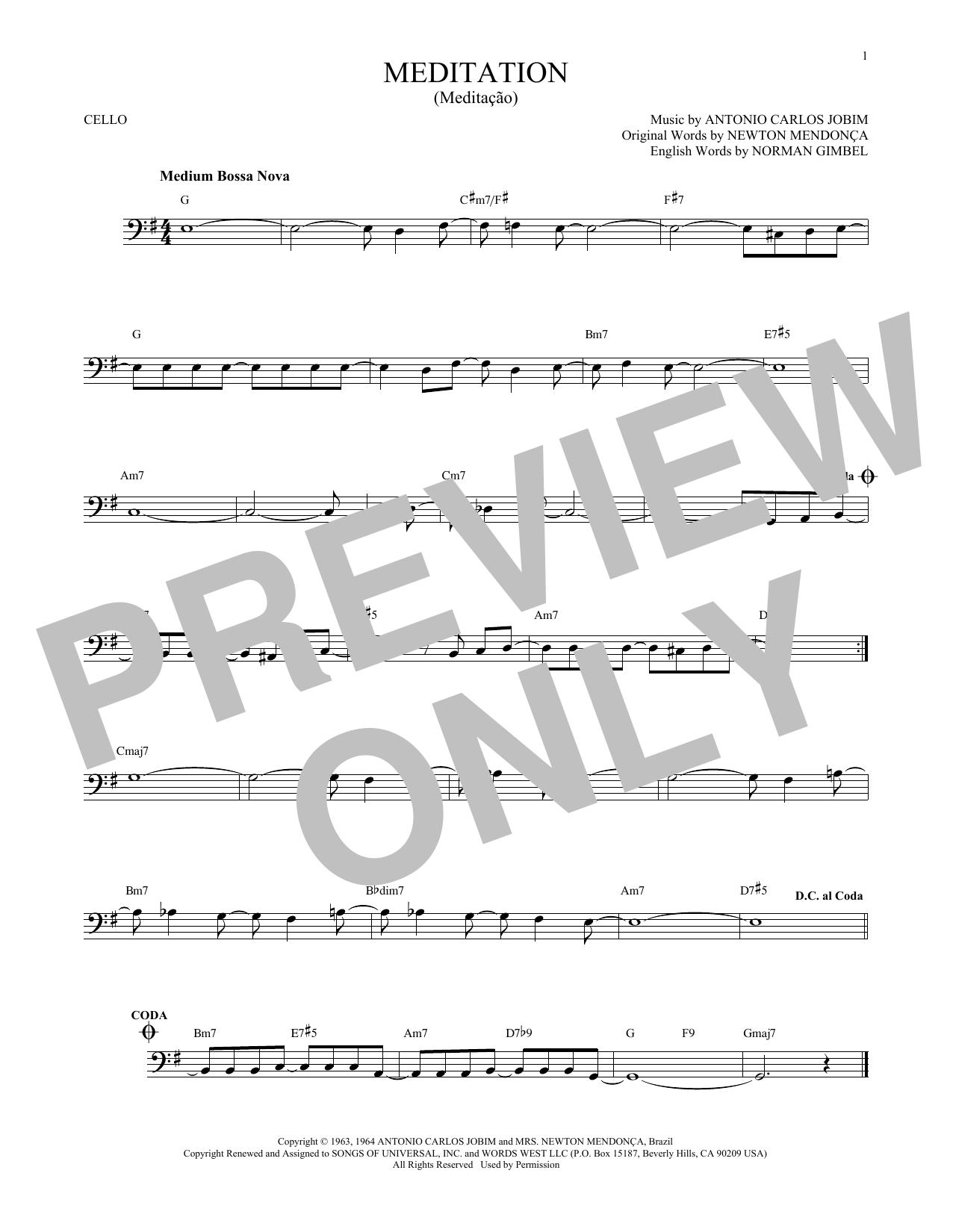 Partition autre Meditation (Meditacao) de Antonio Carlos Jobim - Violoncelle