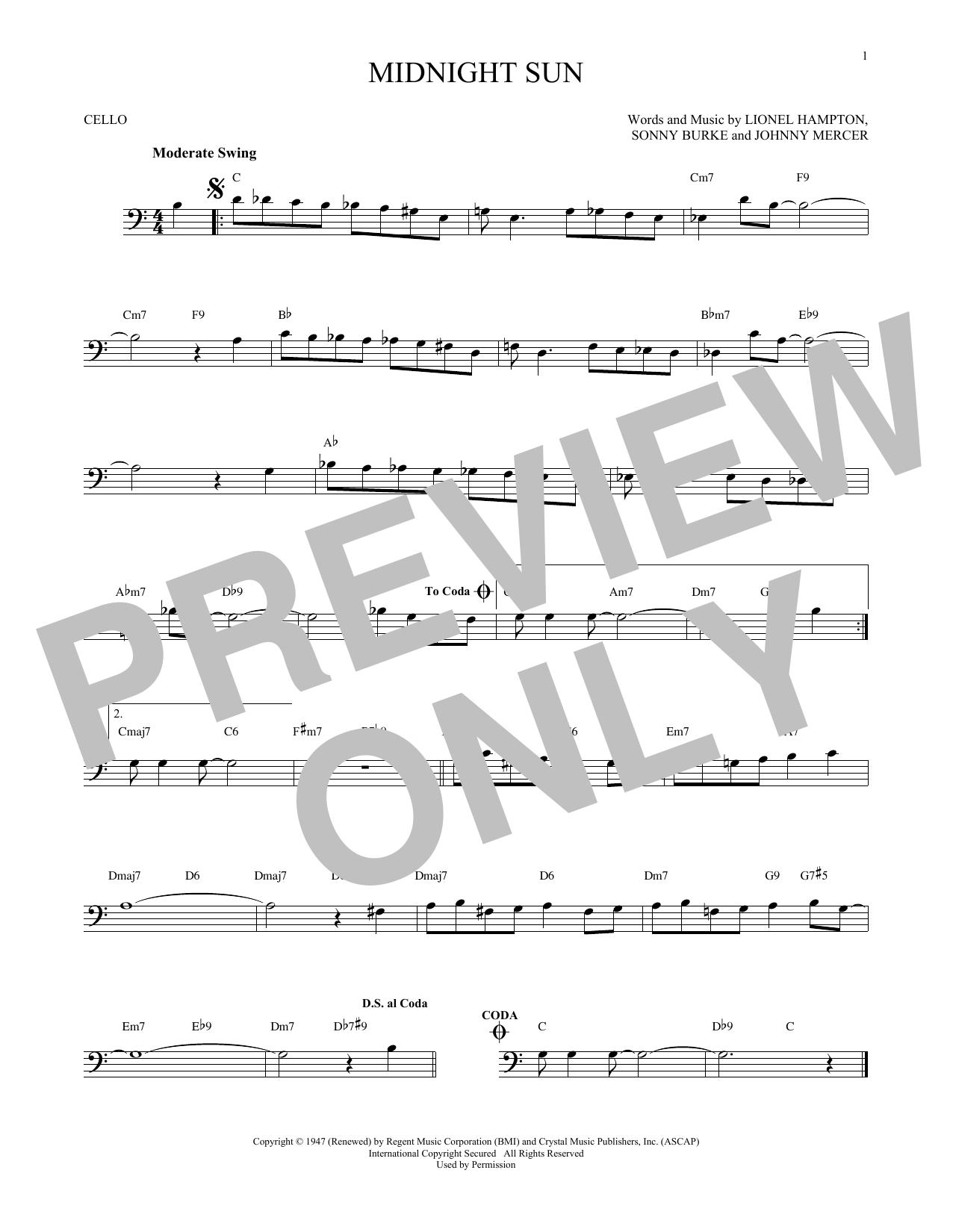 Partition autre Midnight Sun de Johnny Mercer - Violoncelle