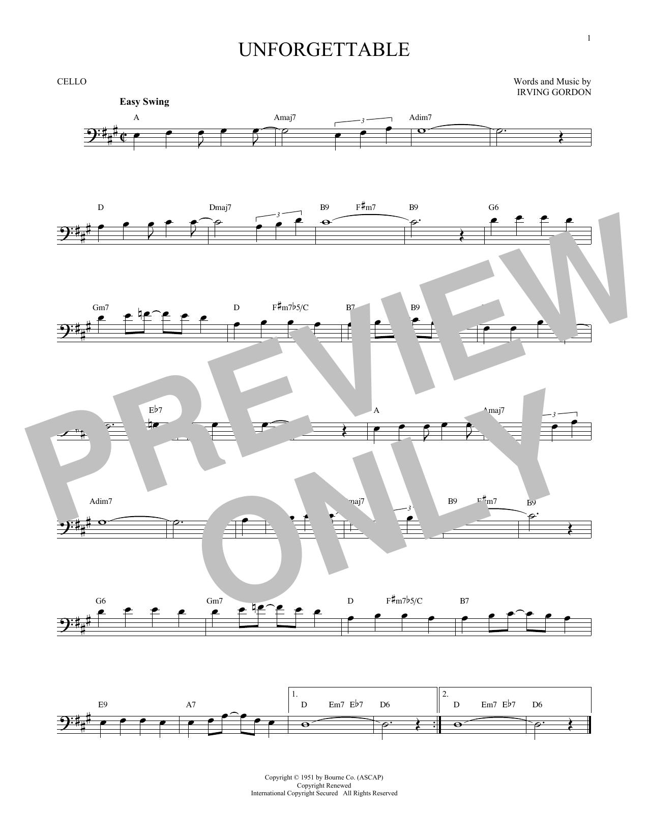 Partition autre Unforgettable de Irving Gordon - Violoncelle
