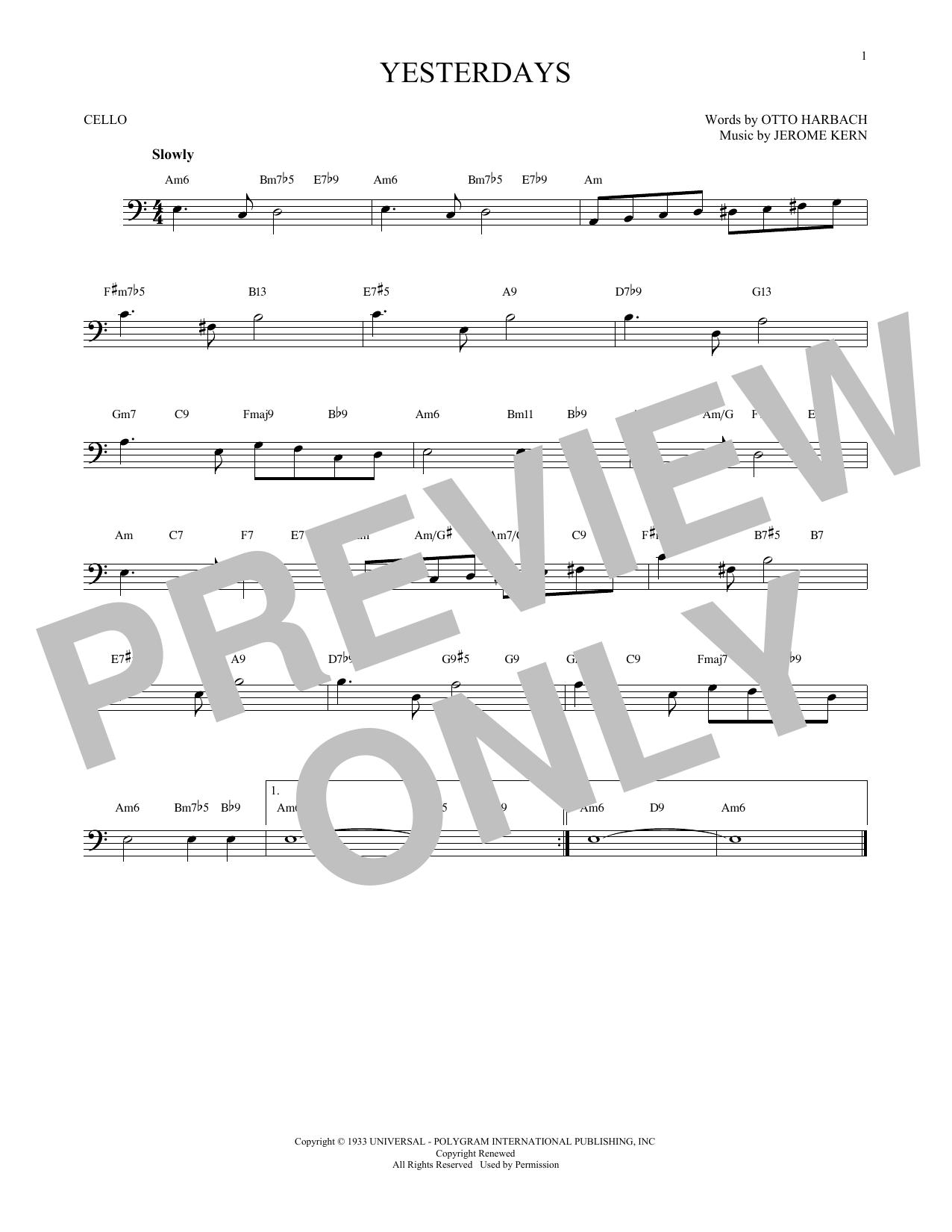 Partition autre Yesterdays de Jerome Kern - Violoncelle