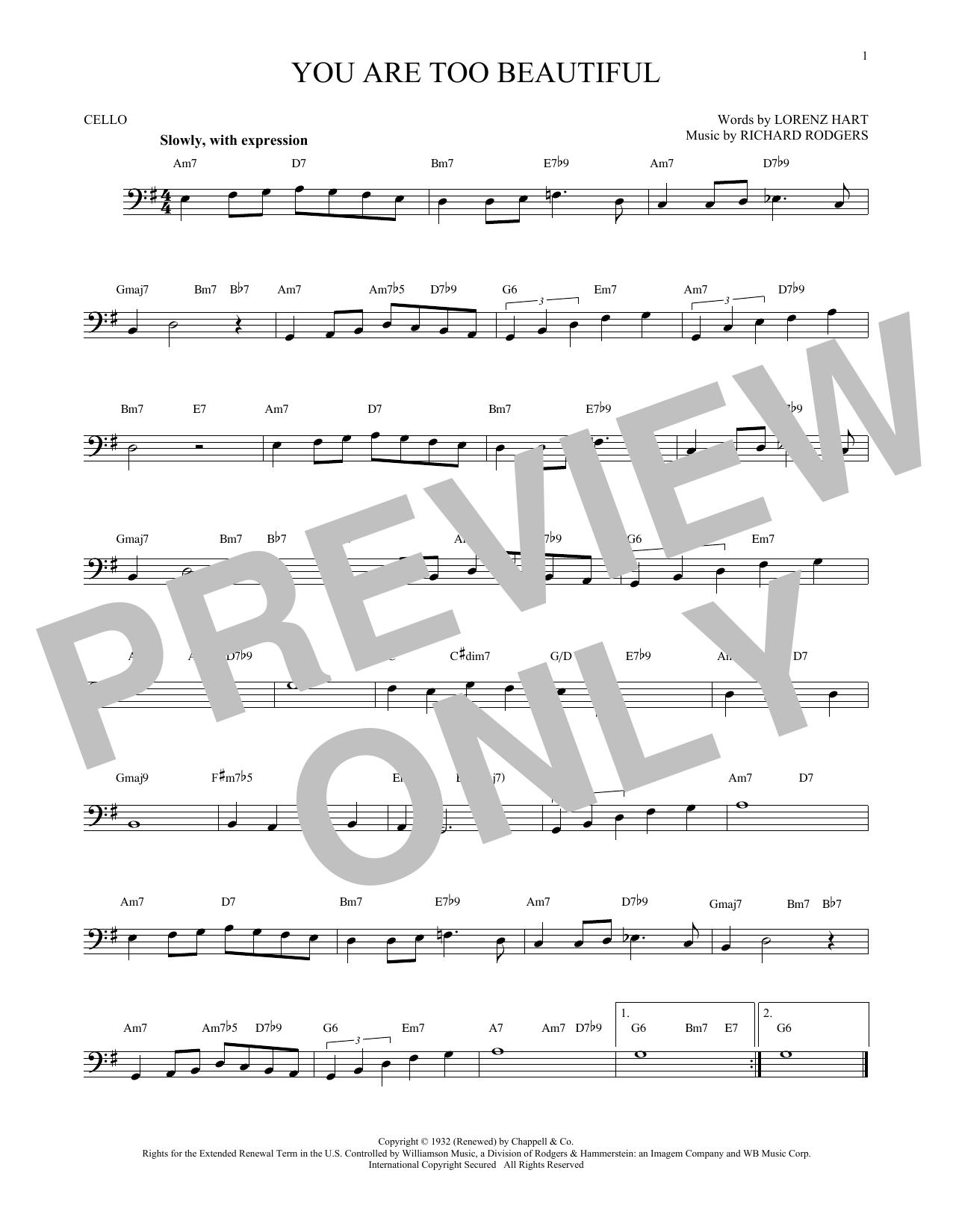 Partition autre You Are Too Beautiful de Rodgers & Hart - Violoncelle