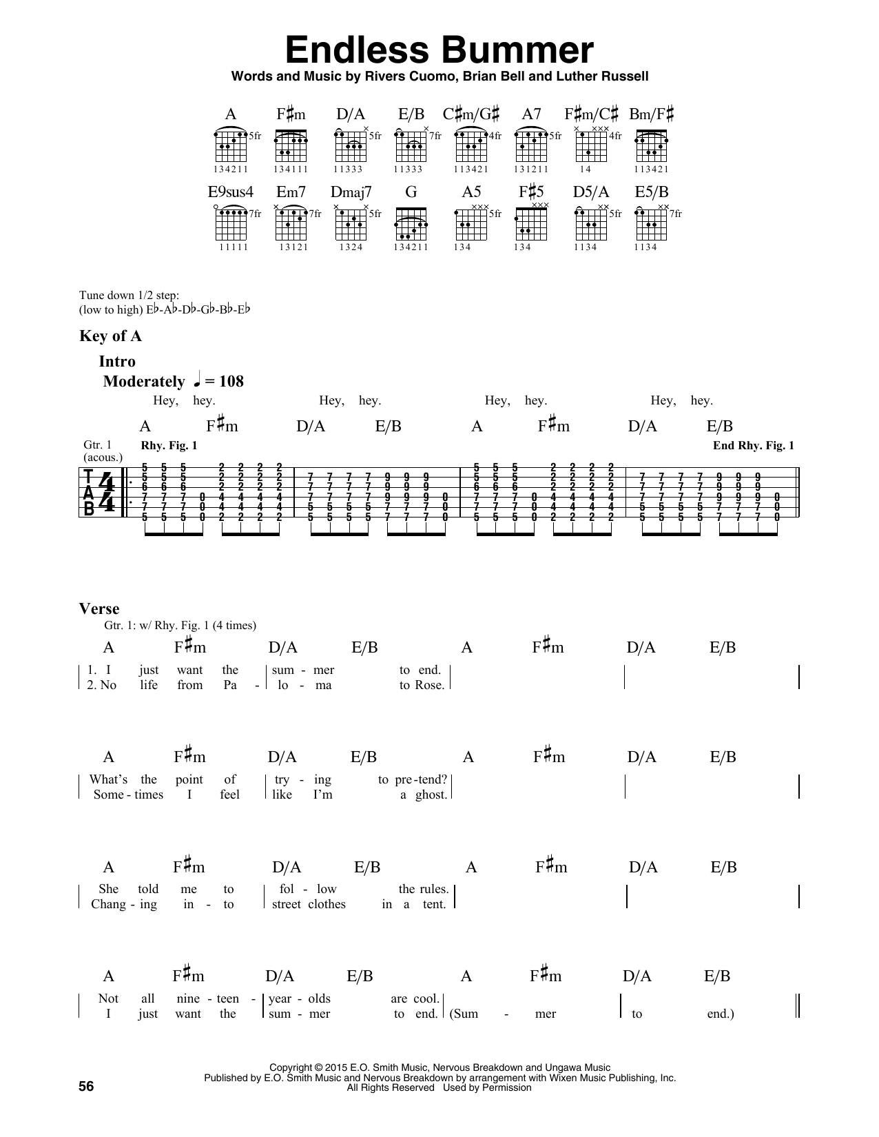 Partition autre Endless Bummer de Weezer - Tablature Guitare Lead