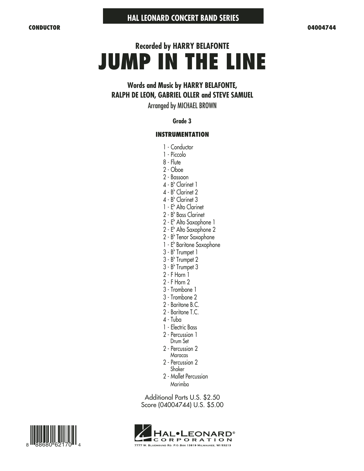 Raymond Bell - Jump in the Line - Conductor Score (Full Score)