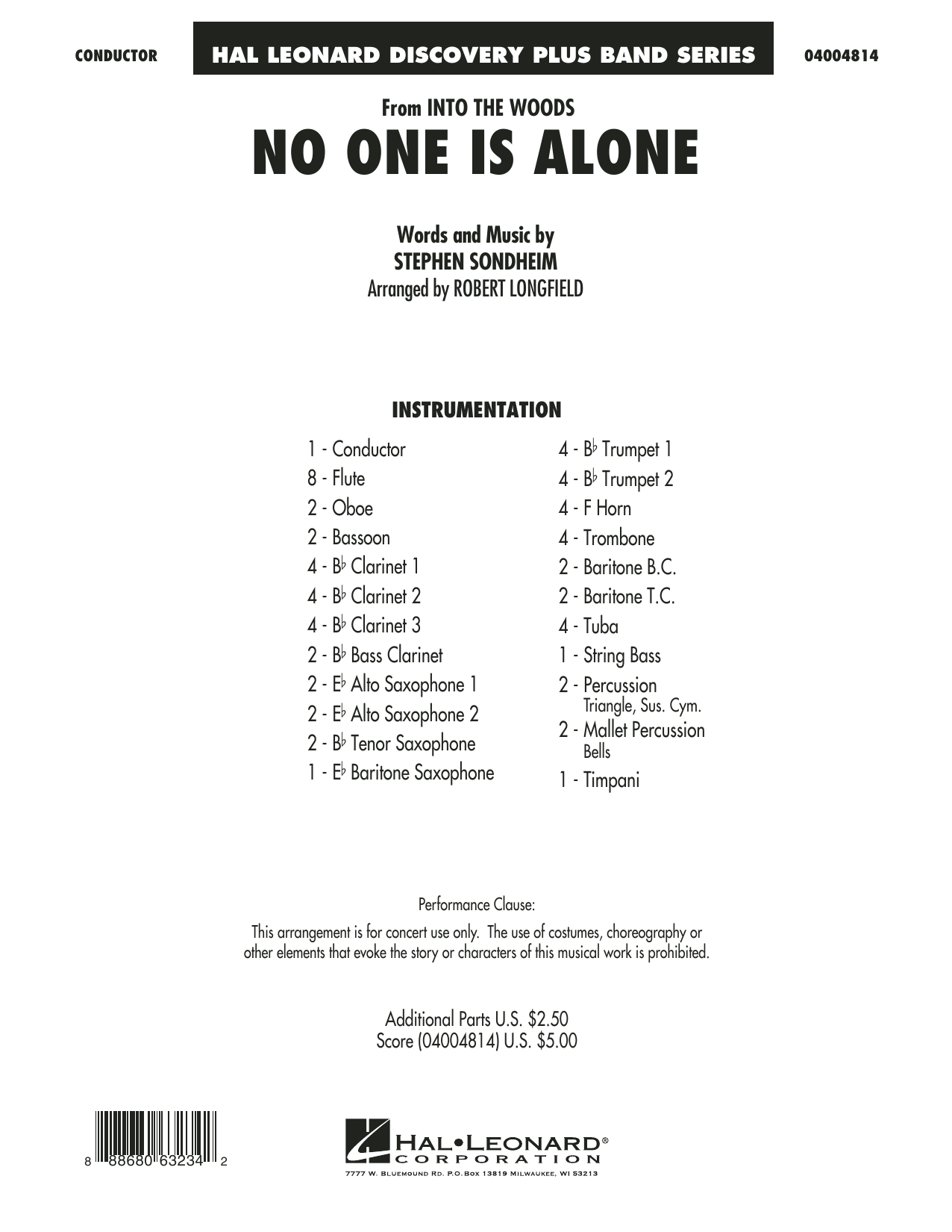 No One Is Alone (from Into the Woods) (COMPLETE) sheet music for concert band by Stephen Sondheim