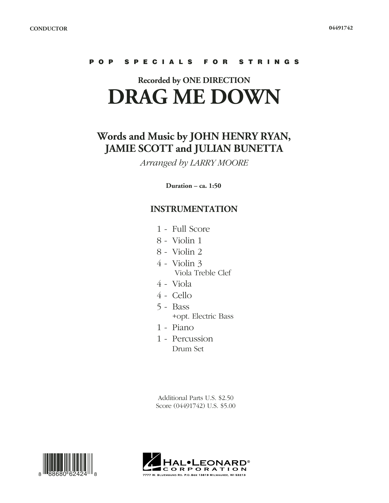One Direction - Drag Me Down - Conductor Score (Full Score)