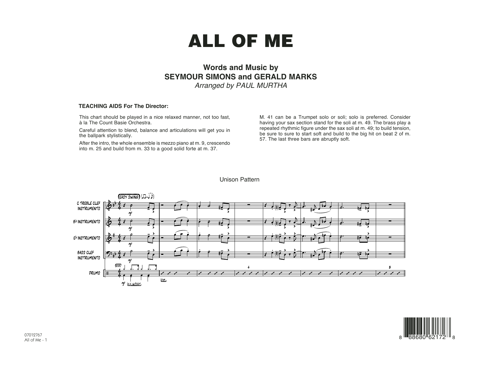 All of Me - Conductor Score (Full Score)