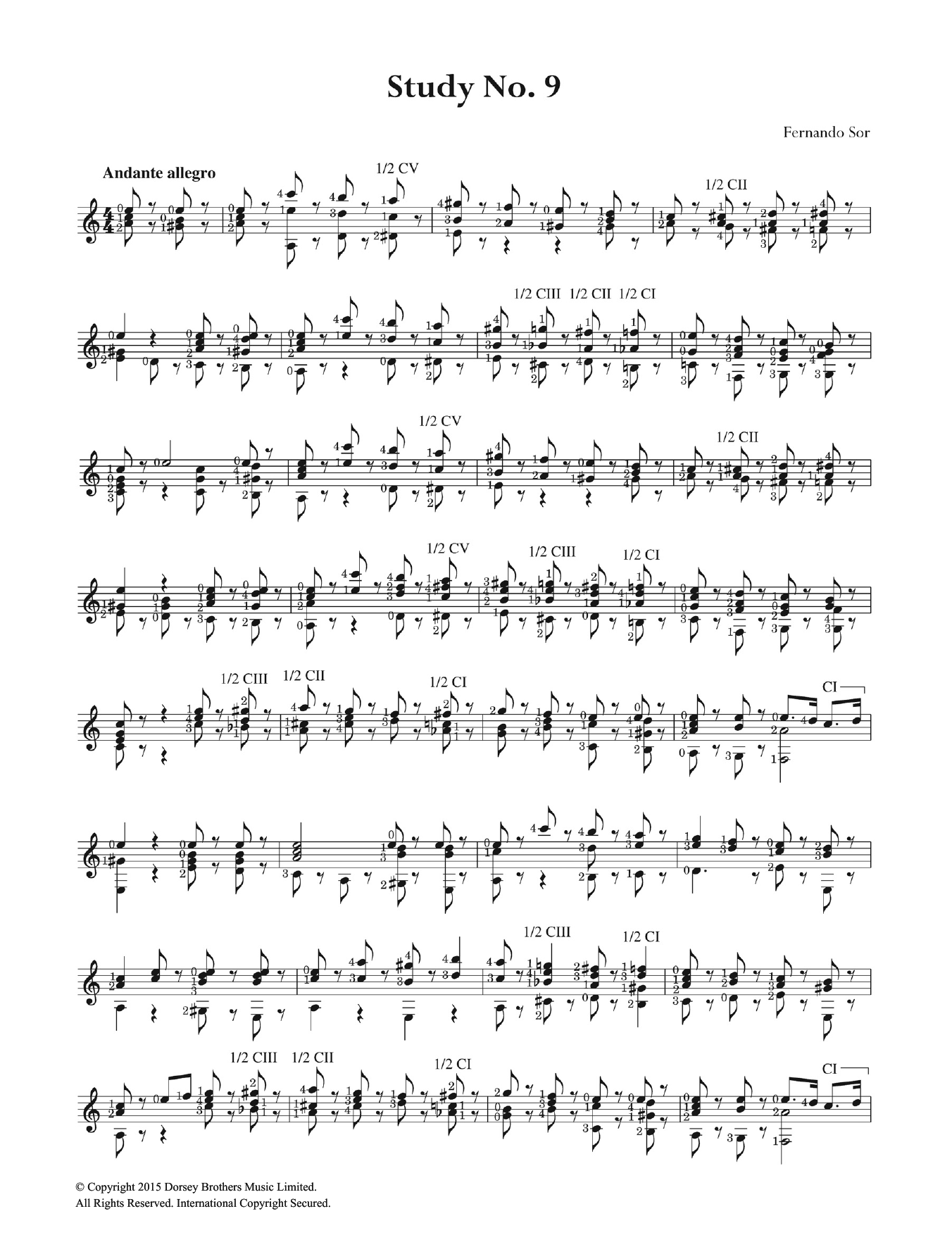 Sor study in sheet music