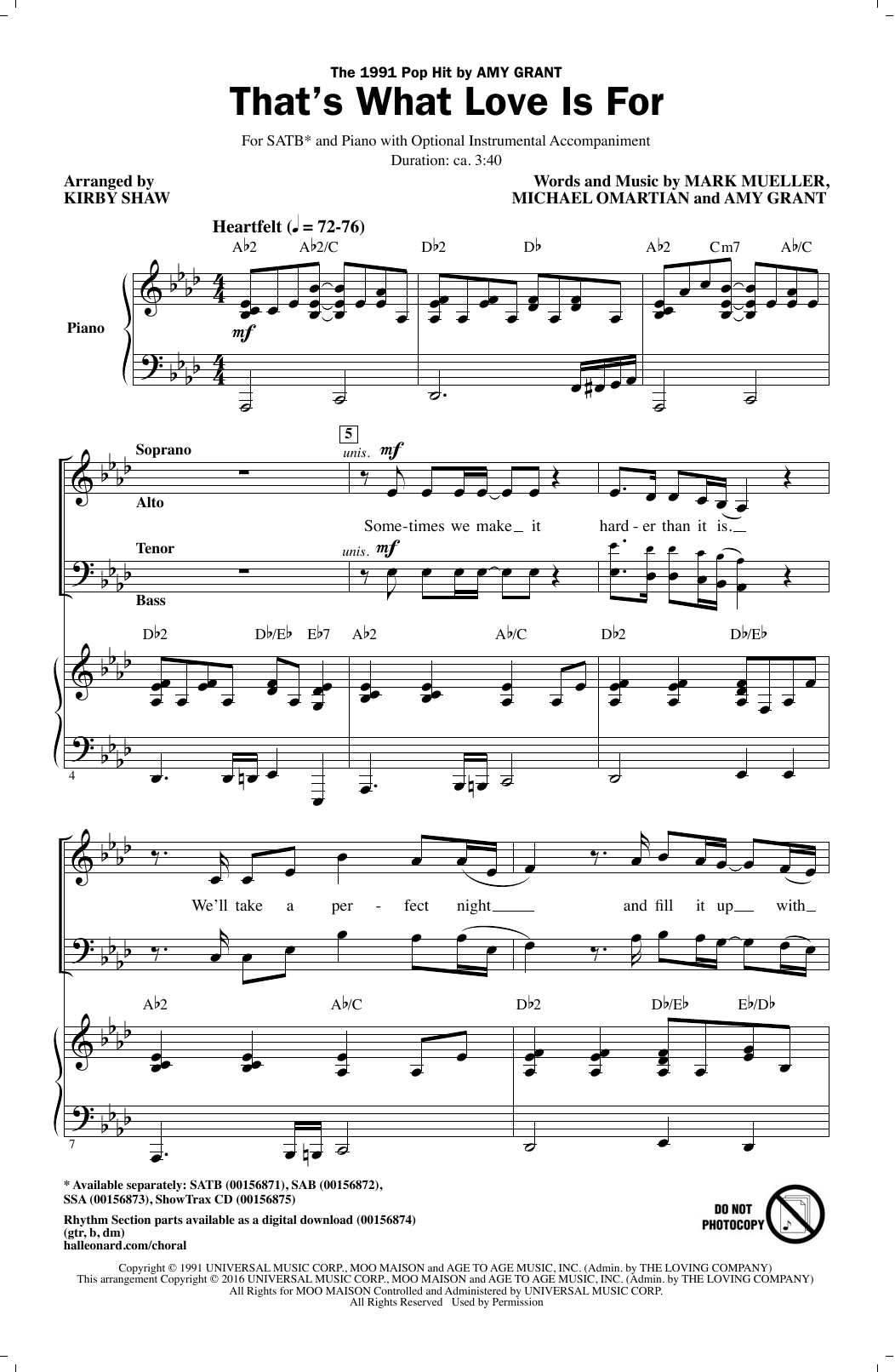 Partition chorale That's What Love Is For de  - SATB