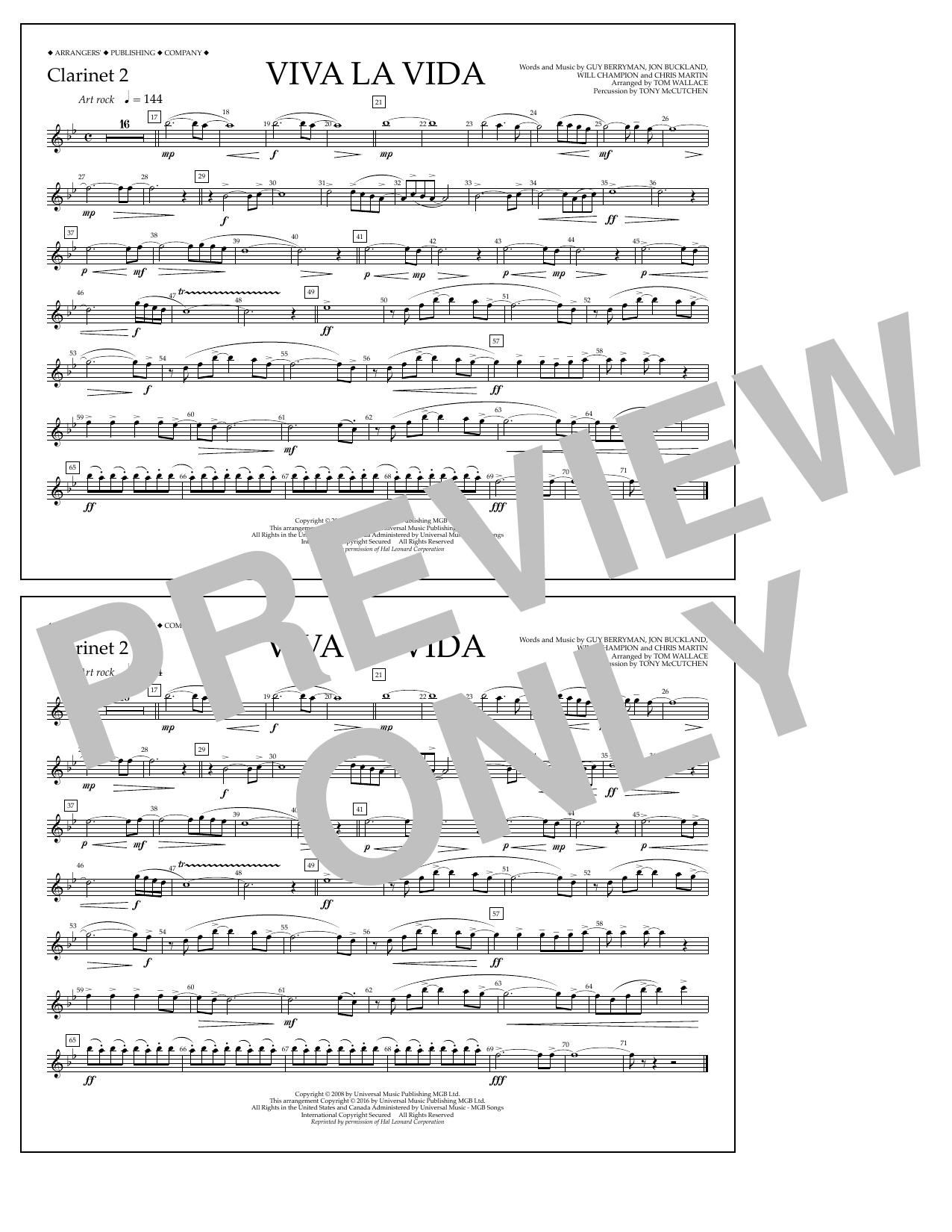 Viva la vida clarinet 2 sheet music at stantons sheet music format marching band hexwebz Choice Image