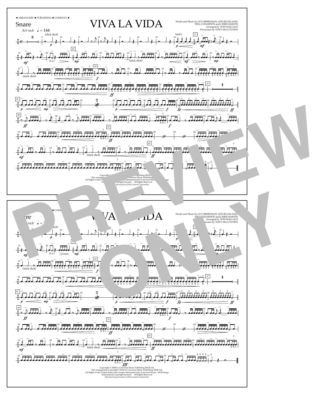 Coldplay - Viva La Vida - Snare