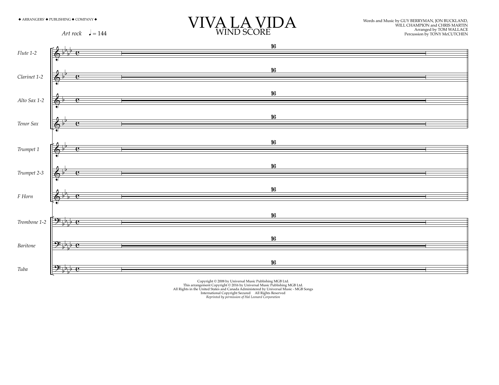 Coldplay - Viva La Vida - Wind Score