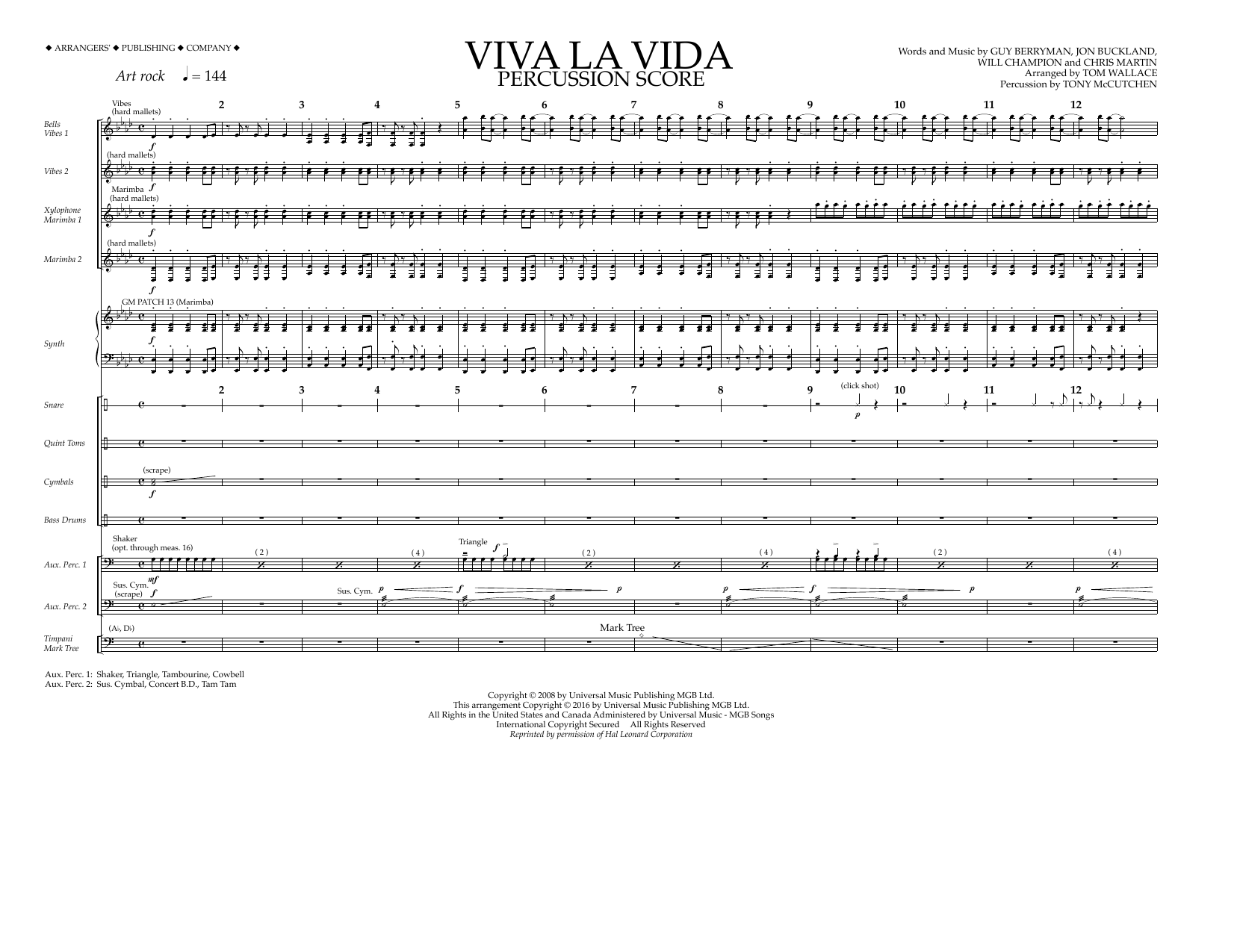 Coldplay - Viva La Vida - Percussion Score