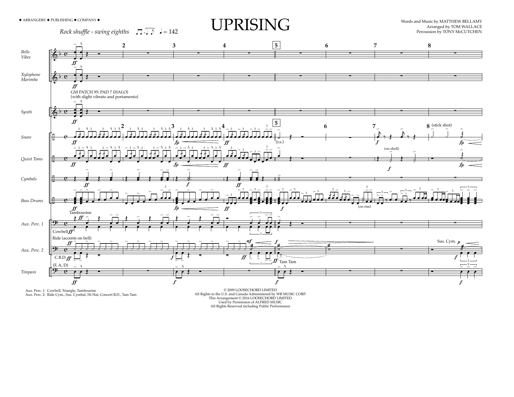 Muse - Uprising - Percussion Score