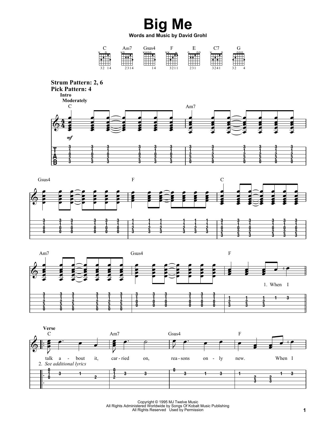 Tablature guitare Big Me de Foo Fighters - Tablature guitare facile