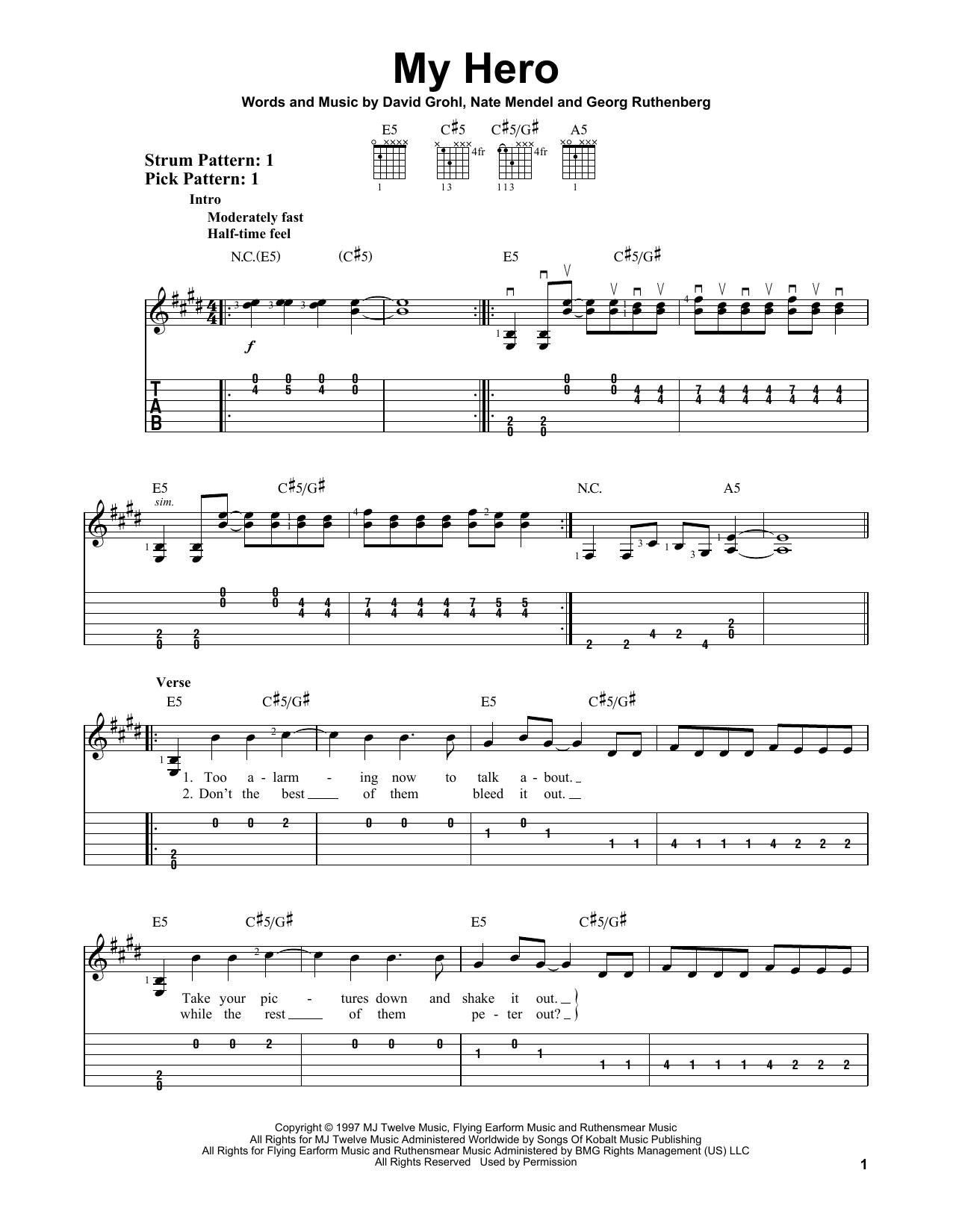 Tablature guitare My Hero de Foo Fighters - Tablature guitare facile