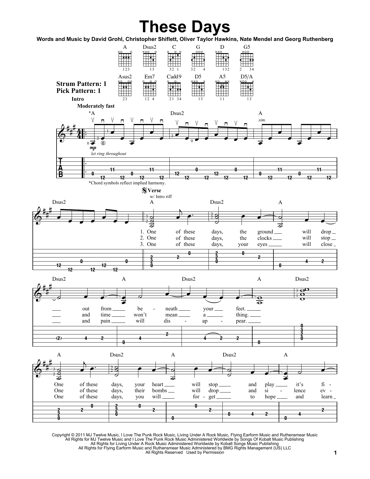 Tablature guitare These Days de Foo Fighters - Tablature guitare facile