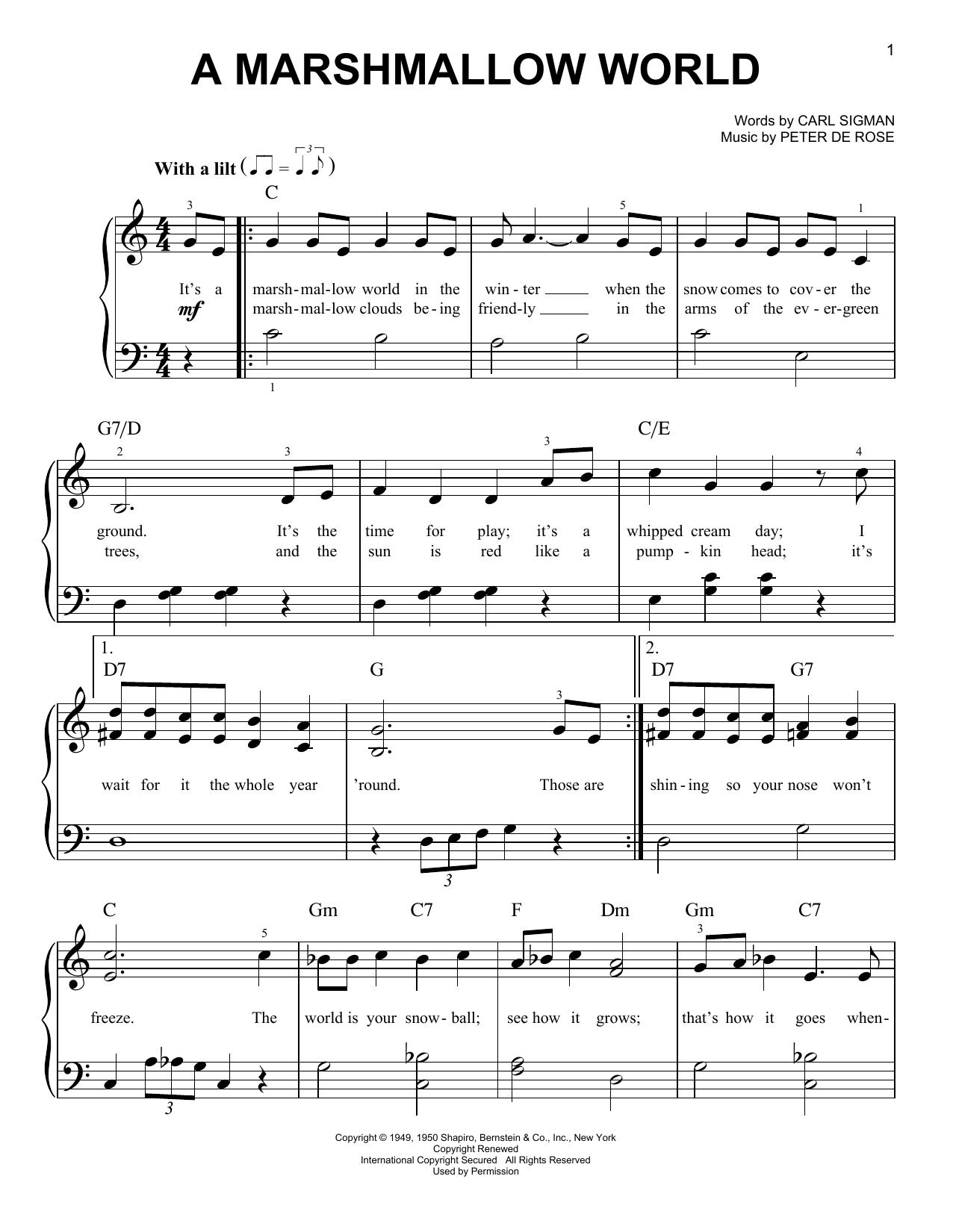 Partition piano A Marshmallow World de Peter De Rose - Piano Facile