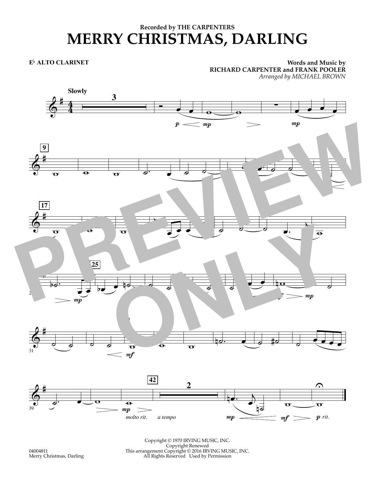 The Carpenters - Merry Christmas, Darling - Eb Alto Clarinet