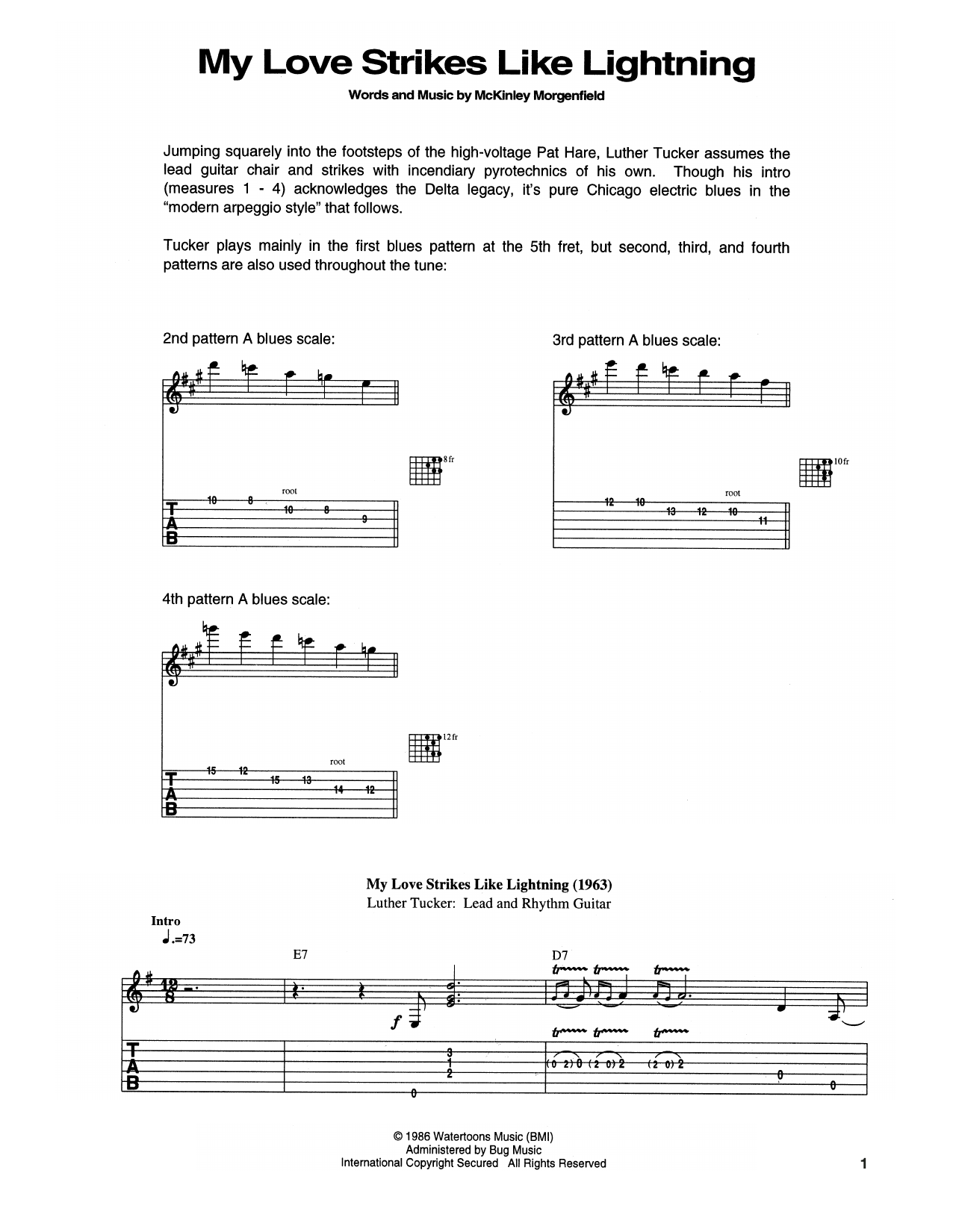 Tablature guitare My Love Strikes Like Lightning de Muddy Waters - Tablature Guitare