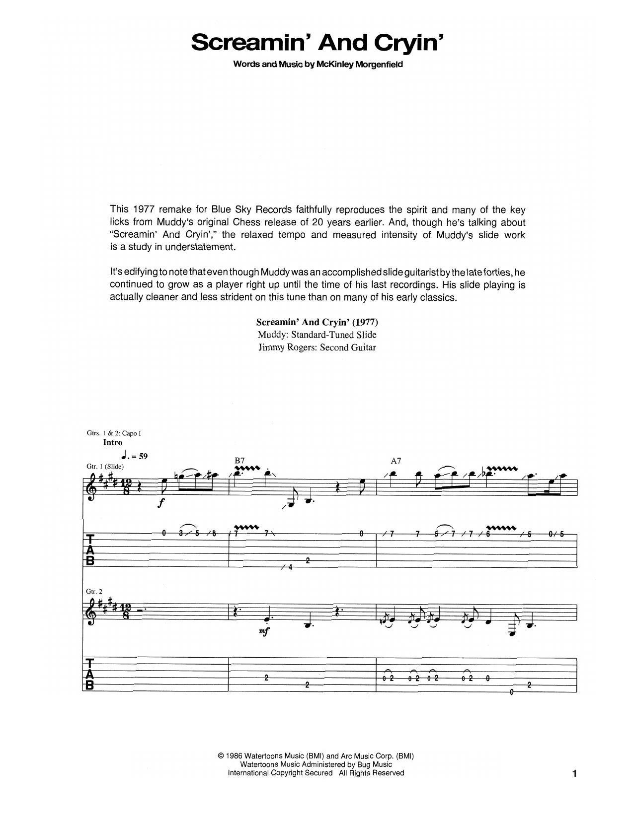 Tablature guitare Screamin' And Cryin' de Muddy Waters - Tablature Guitare