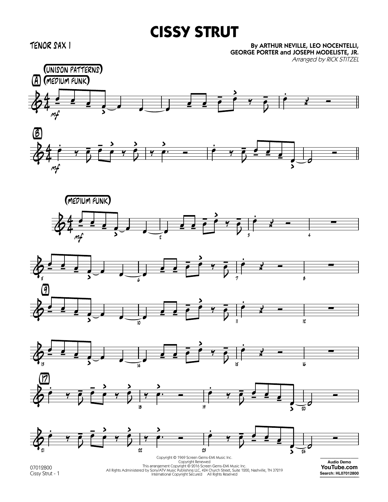 George Porter - Cissy Strut - Tenor Sax 1