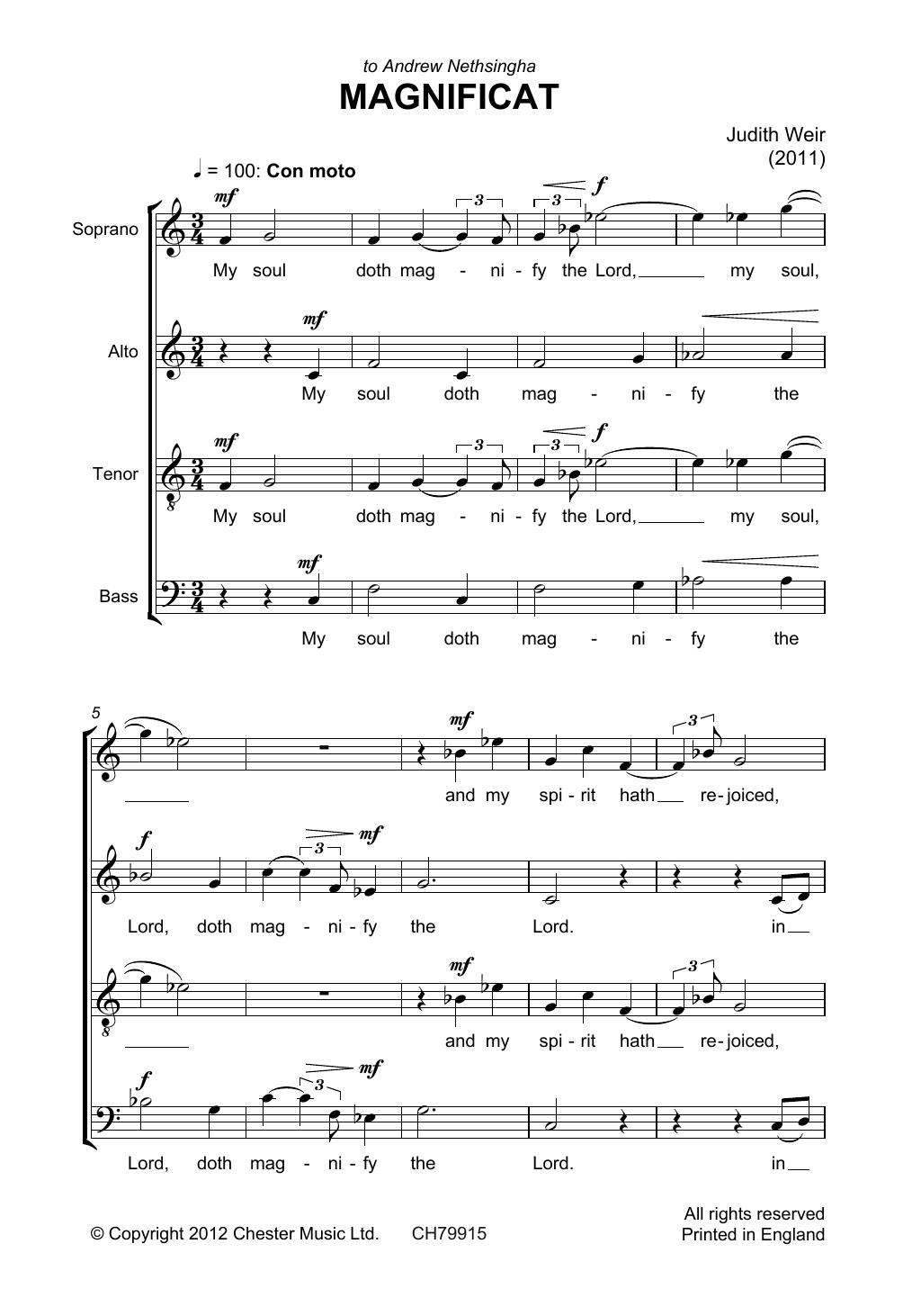 Judith Weir - Magnificat And Nunc Dimittis