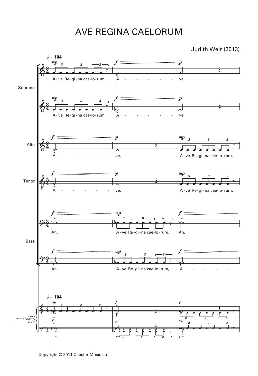 Judith Weir - Ave Regina Caelorum