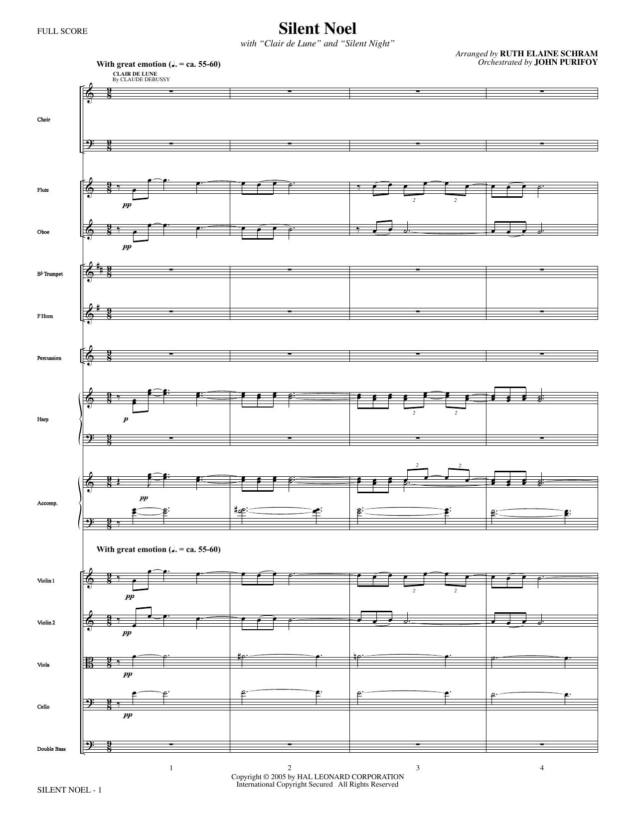 Silent Noel (COMPLETE) sheet music for orchestra/band by Ruth Elaine Schram
