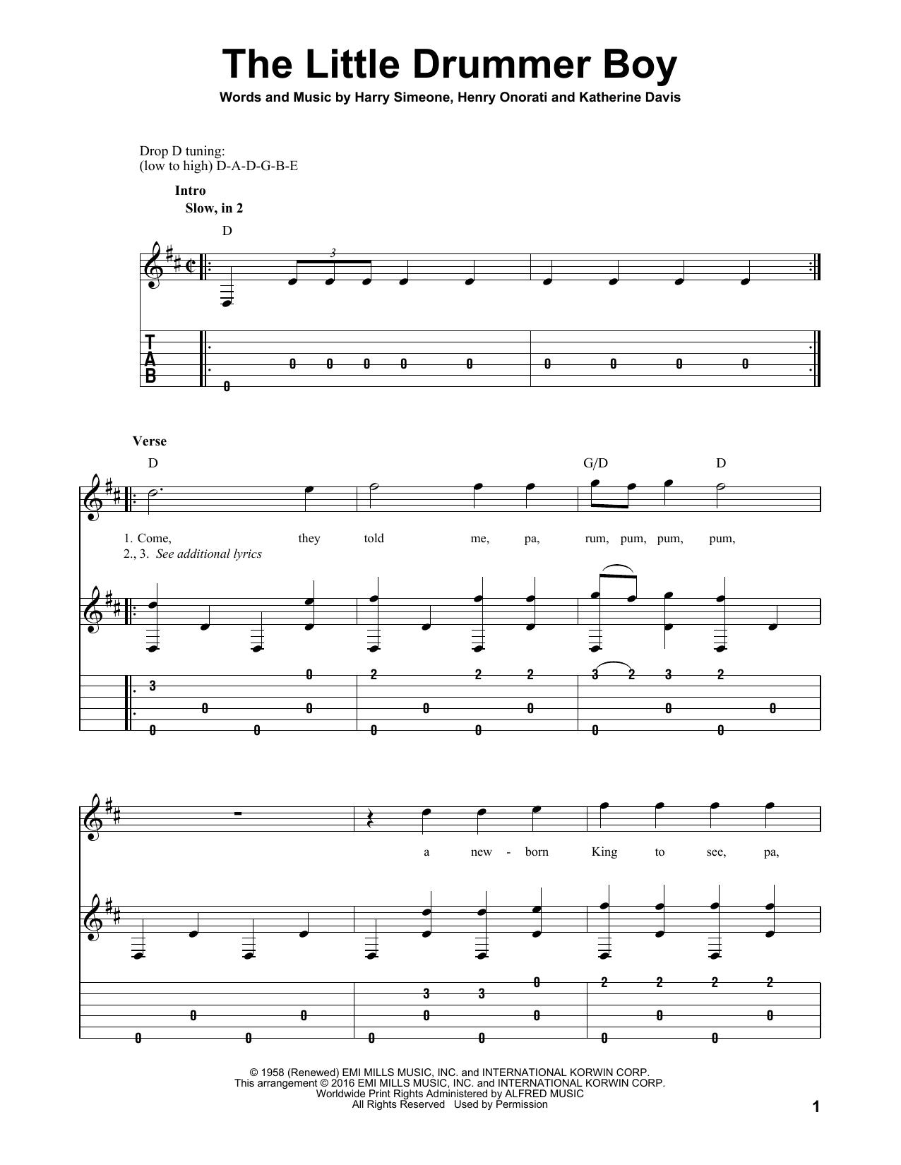 Tablature guitare The Little Drummer Boy de Harry Simeone - Tablature Guitare
