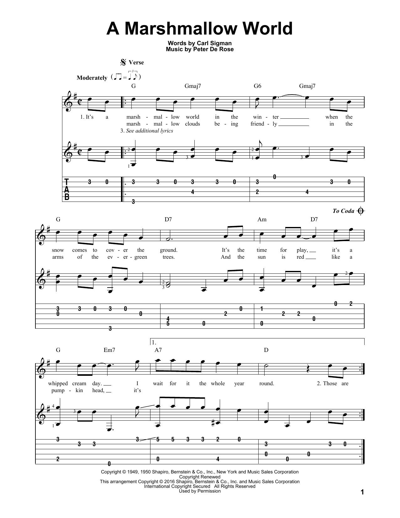 Tablature guitare A Marshmallow World de Peter De Rose - Tablature Guitare
